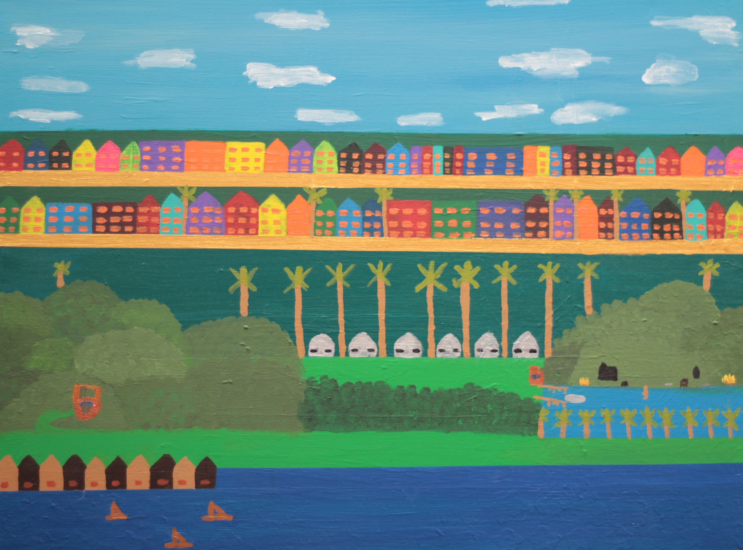RICH MIDDLE CLASS AND POOR COLLECTION PAINTING2, ACRYLIC ON CANVAS, 110 X 76CM