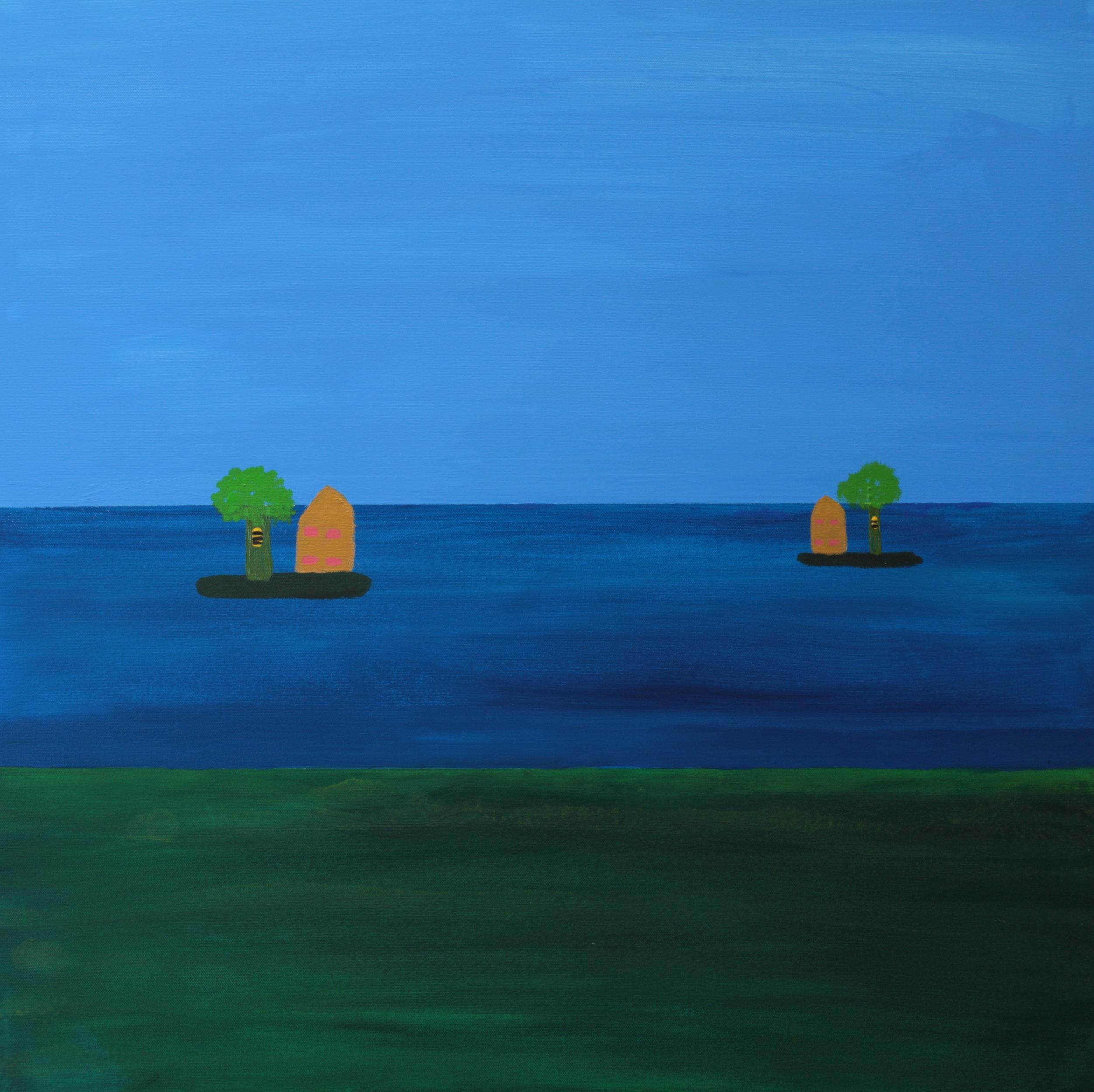 12 2014 Beehives on Islands Acrylic on Canvas 76 X 76cm Yaniv Janson.JPG