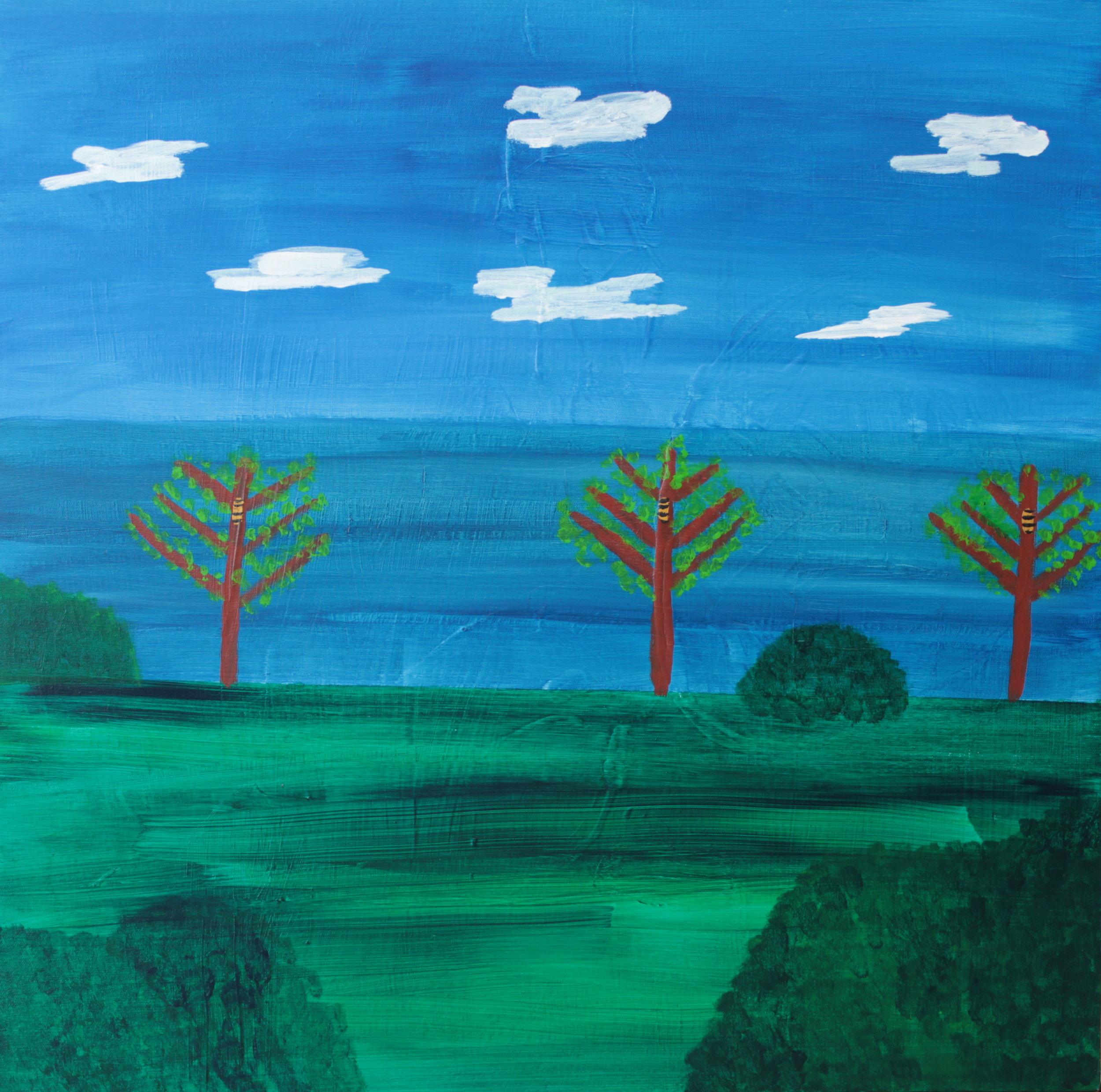 16 2014 Three Beehives Acrylic on Canvas 76 X 76cm Yaniv Janson.JPG