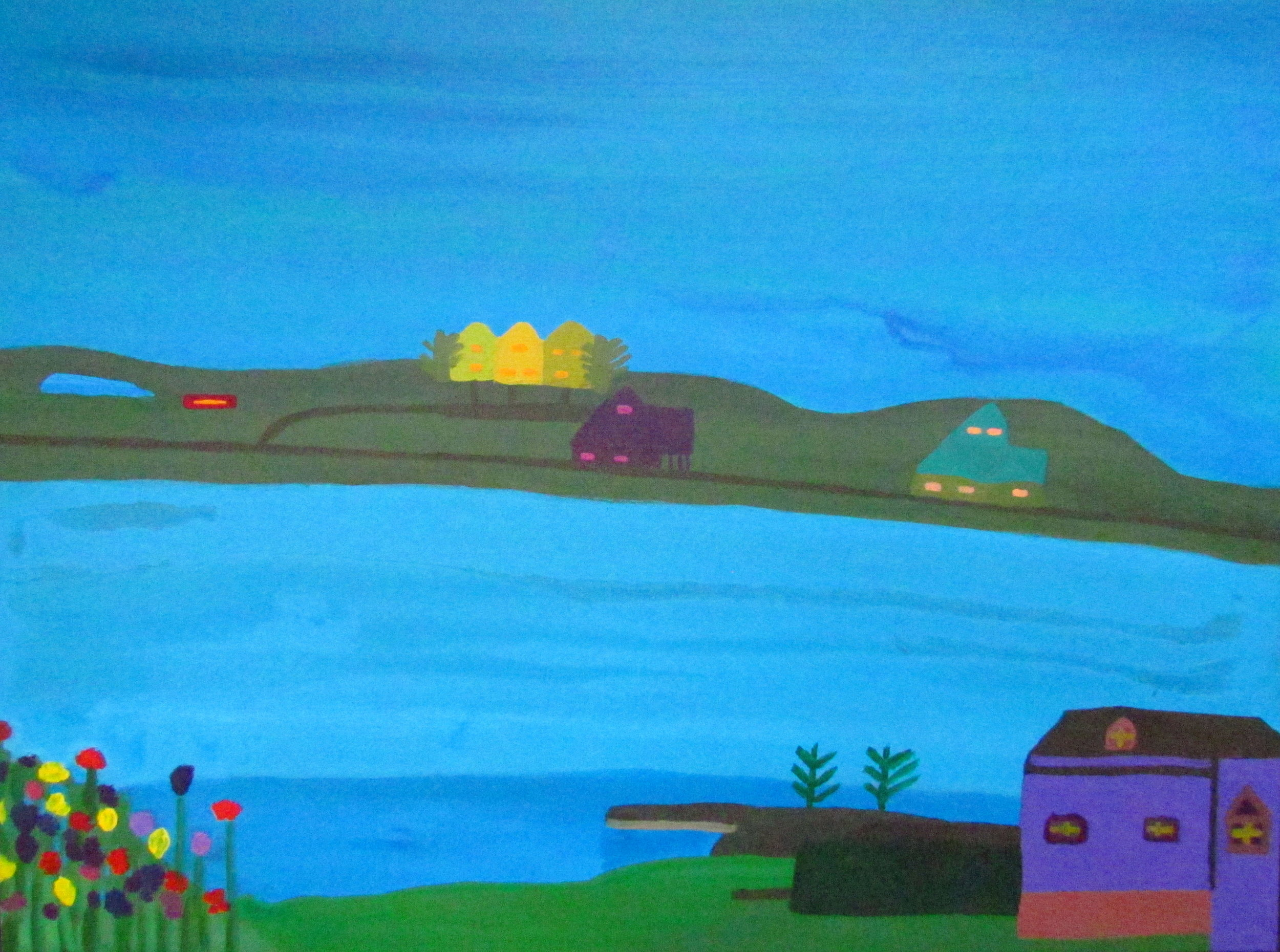 9 2016 Houses around lake, Acrylic on canvas, 76 X 101cm, Yaniv Janson1.JPG