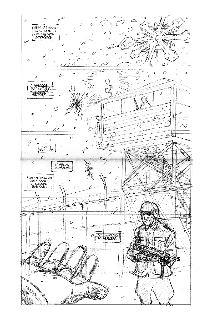 "So here is the 2nd level of page creation (according to my process, 3rd if I wasn't writing the page)... THE PENCILS! In this particular instance I worked on 100lb Bristol paper, unlined. I'd recommend using a better quality paper if you can, I worked with what I could afford here at the time. In the end I don't think it makes much of a difference other than finesse and time (I've heard stories that the paper Jack Kirby used was so cheap and pulpy that a certain inker had to literally IRON them down before he could lay any ink), so use what you can afford!  At this time I was using a regular old #2 pencil, like the one us old fogies used to fill in ""Scantron®"" tests, because I didn't know any better. These days I use a blue pencil, which saves an incredible amount of time due to NOT ERASING. I can't tell you the hours spent erasing after inking, then having to clean it more in photoshop when it'd been scanned. With the blue pencil it's a matter of erasing the blue lines in the computer, and poof! they're gone. But again, here I was just using a standard pencil.  As you can see here, I went ahead and wrote the lettering in there. The publisher was a little taken aback by this, as it is far from standard these days to include letters in the art, but that's the only way I knew how to do these things. I felt (and still do) that it's part of the composition and should be treated as such, and thankfully (with the weight of O'Barr behind me) the publisher accepted this with no problem at all. I just wish I were better at it.  So now it's all laid out (I darkened them in photoshop for the publisher's sake) and ready for ink! Yay!"