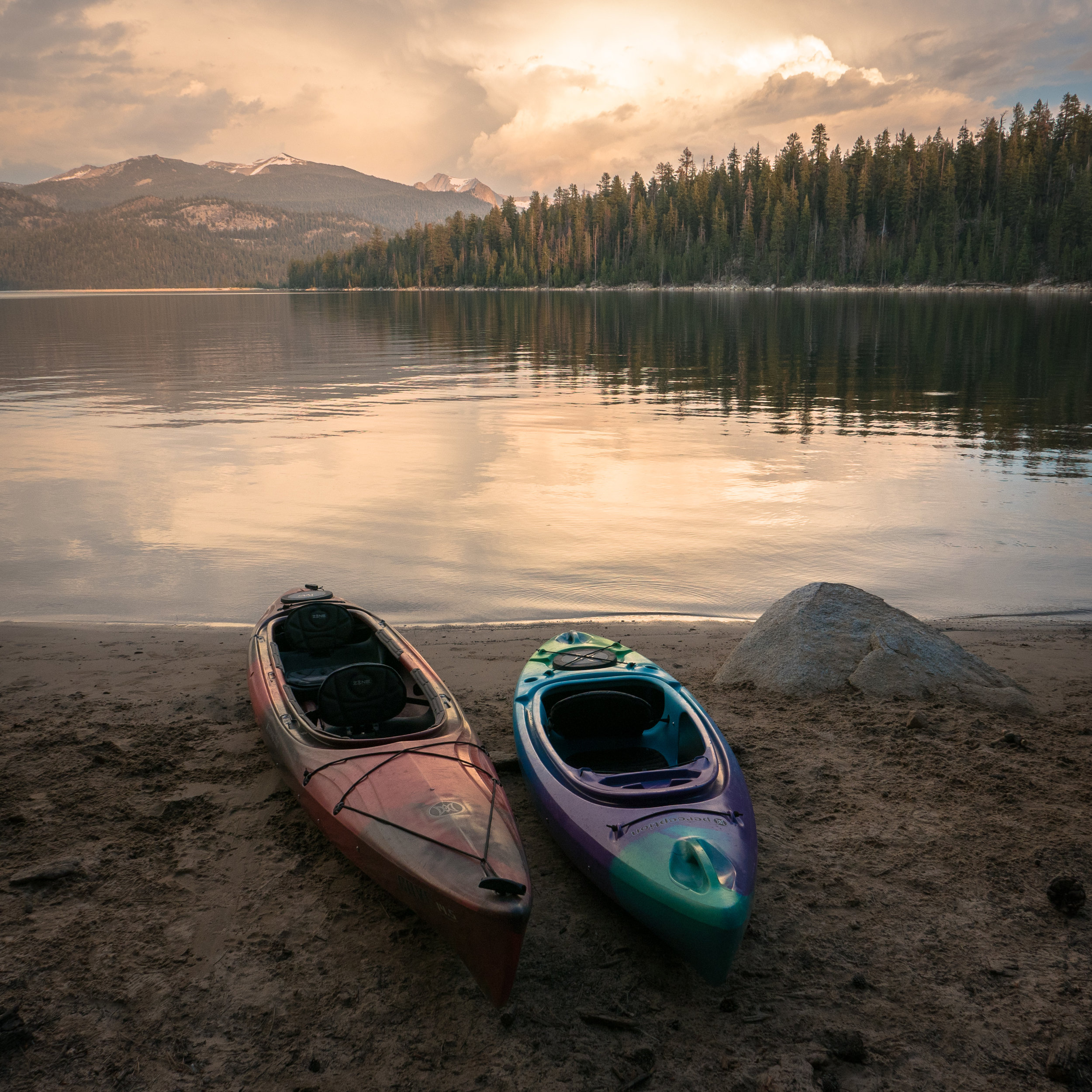 Spectacular Sunset View of Edison Lake from Vermillion Campground, Sierra National Forest.