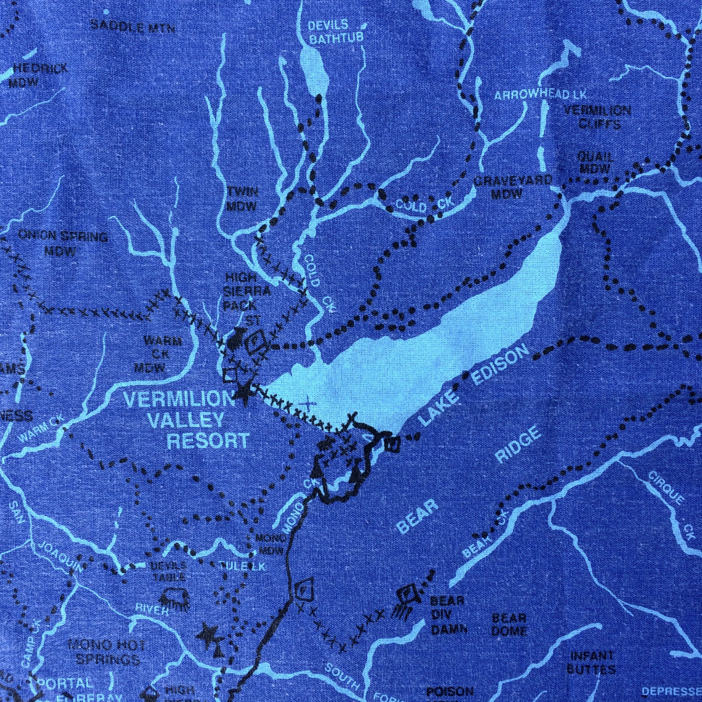 You can purchase a hankie with a map of the Vermillion Valley Resort on Edison Lake.
