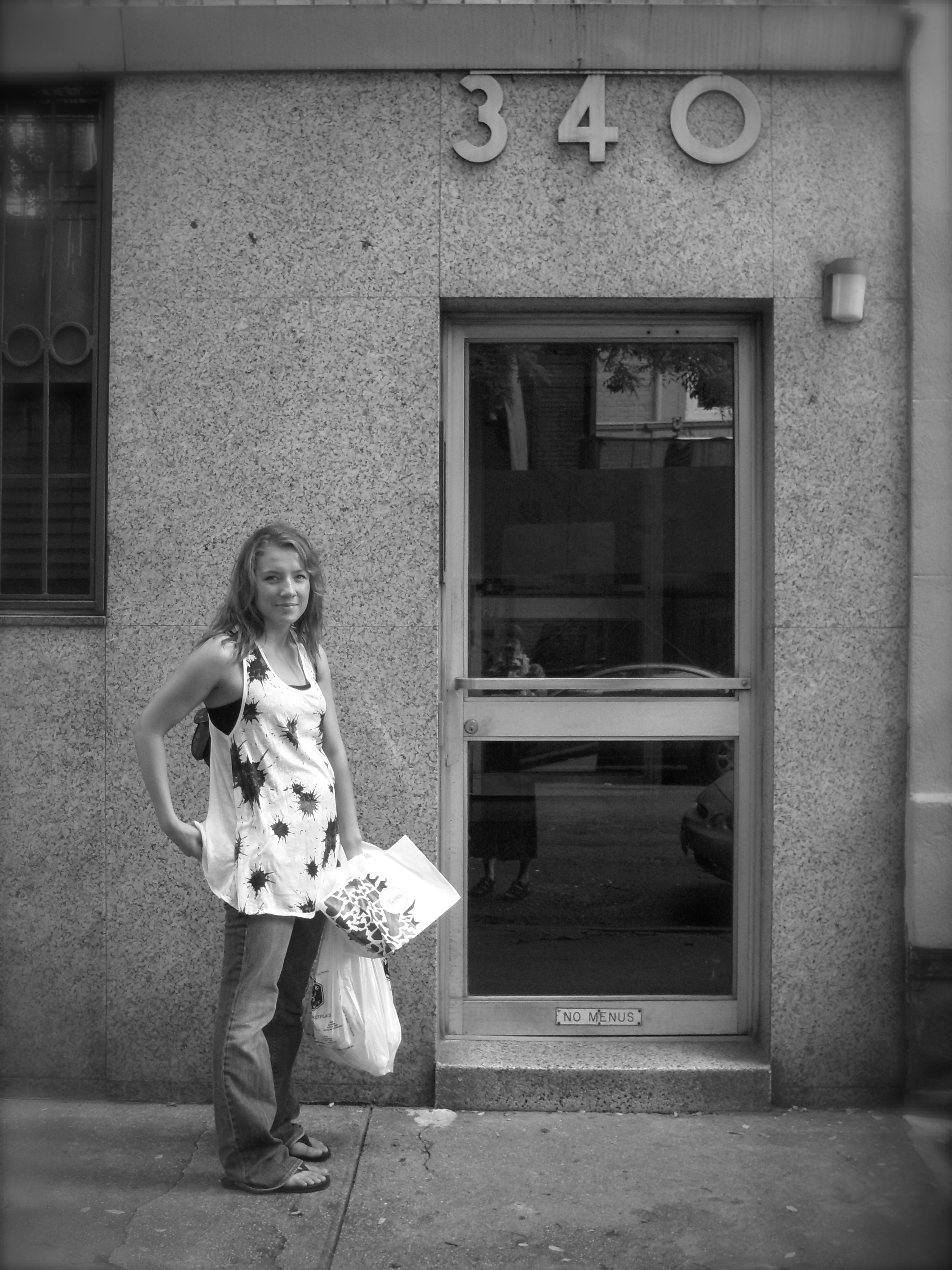 My daughter is not Annie Hall, but still very fashionable.Hilary Whelan in black and white at our Manhattan apartment in 2008.