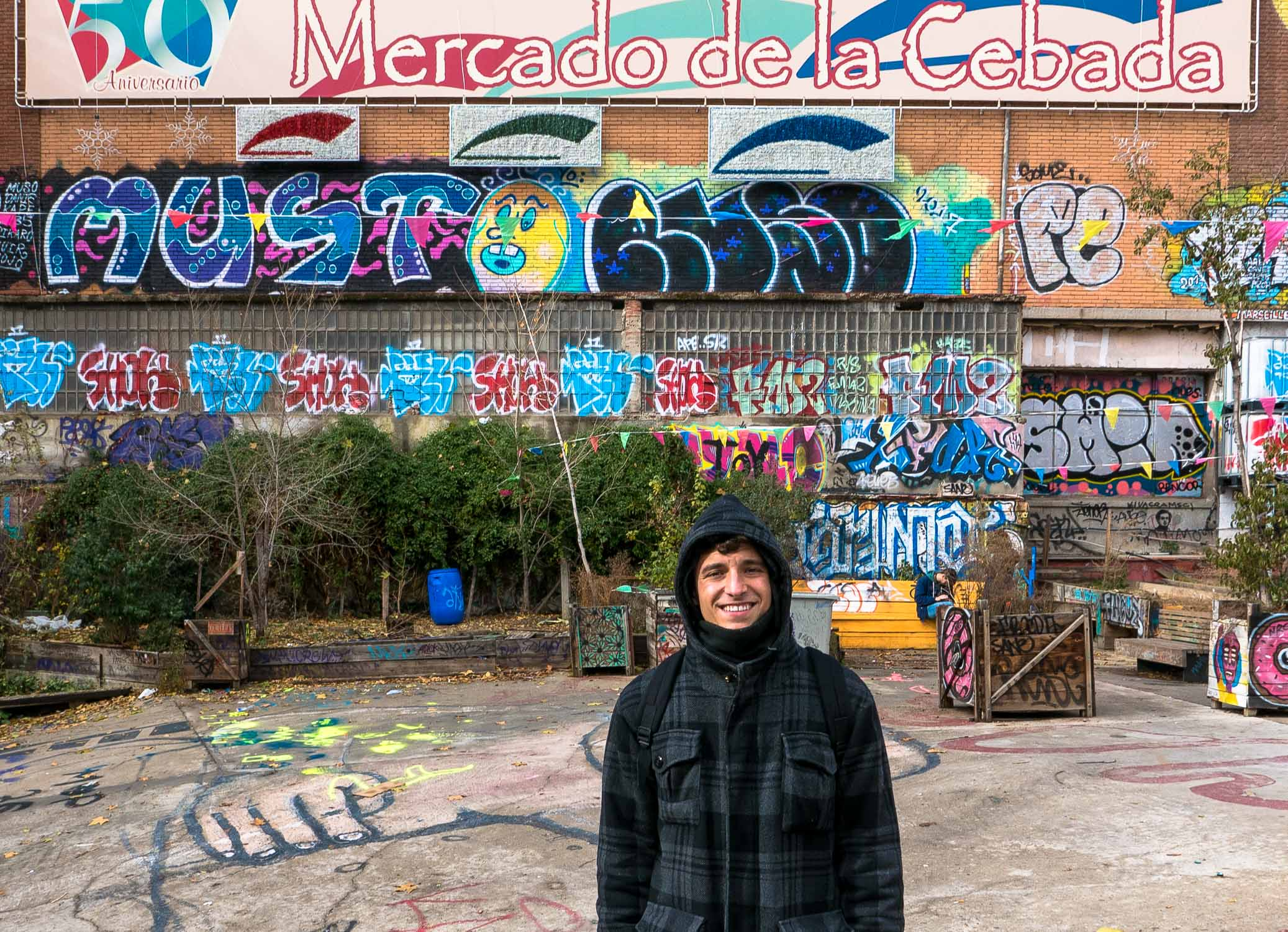 Javier at the Mercado de la Cebada, across the street from our apartment.