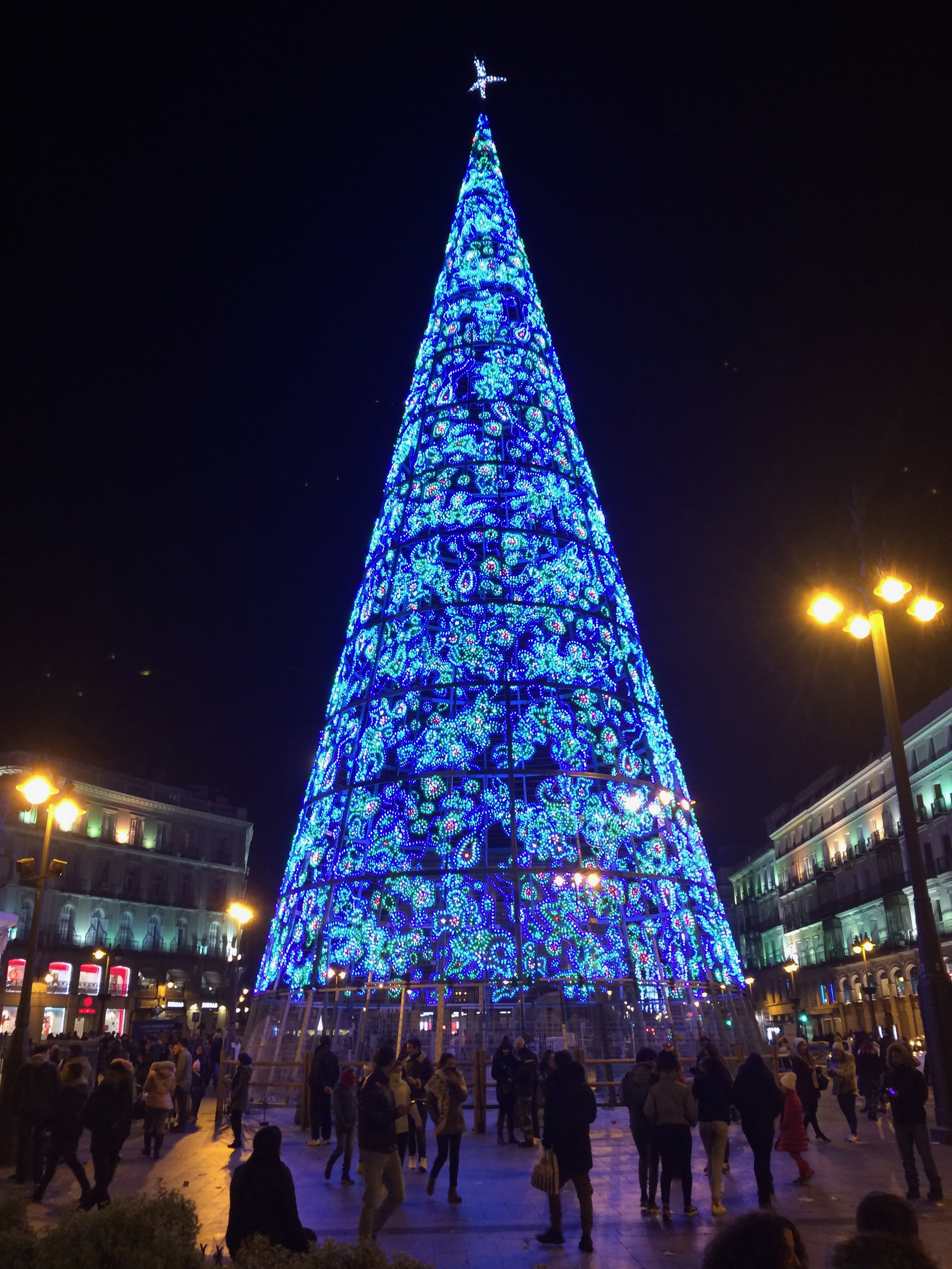 Christmas tree in Placa de Sol, Madrid, Spain.