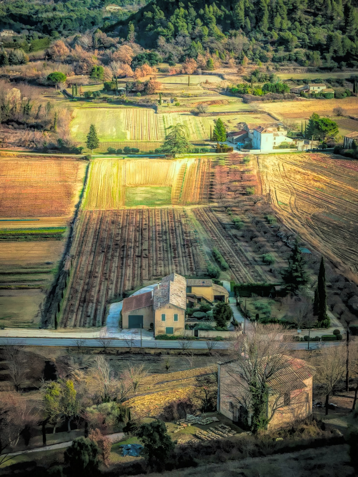 A winter view of the farms below Ménerbes, France.
