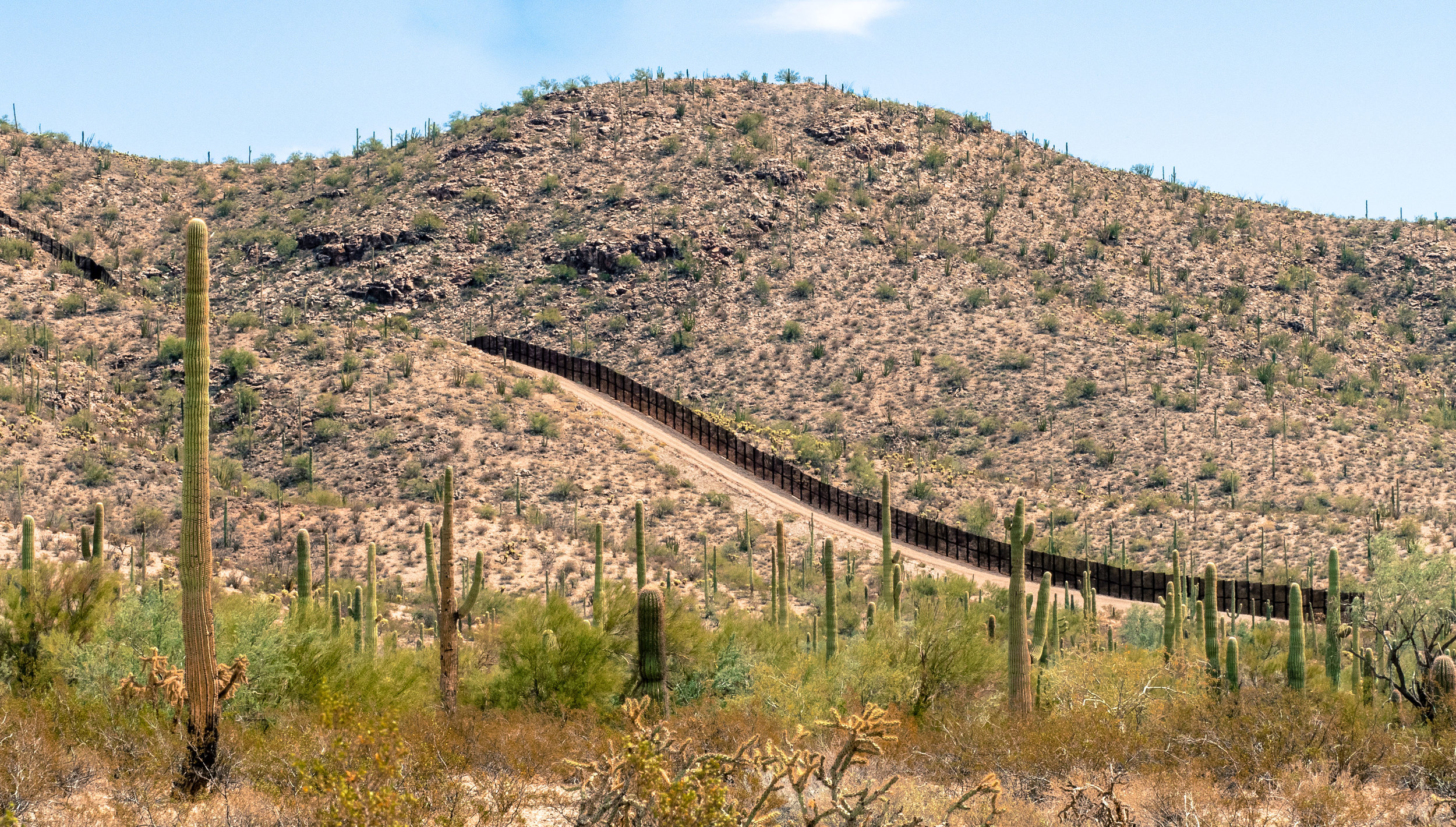 Yes, there is a wall along the Organ Pipe National Monument and Mexico.