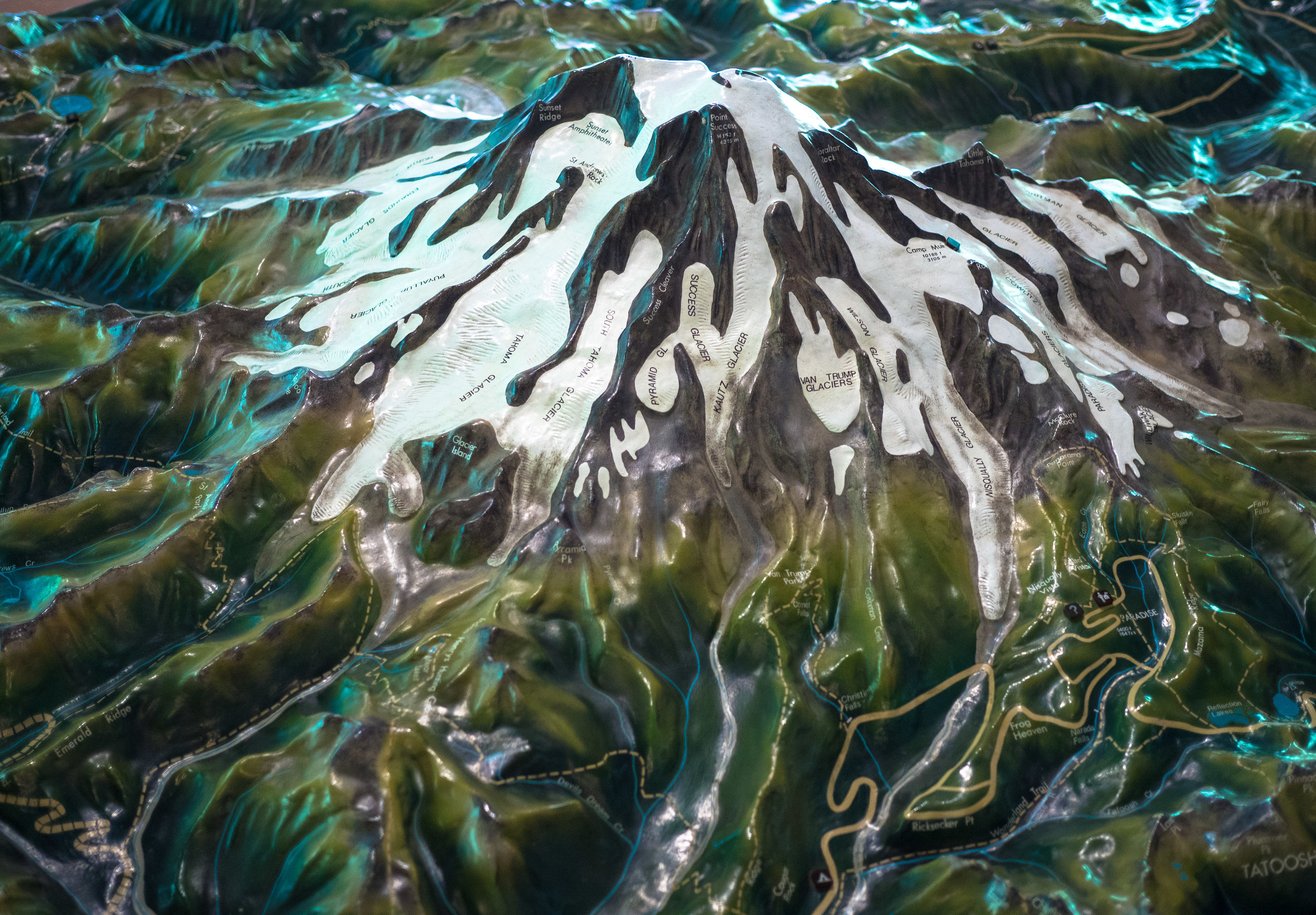 Model of Rainier National Park, at the Ohanapecosh Visitor Center.