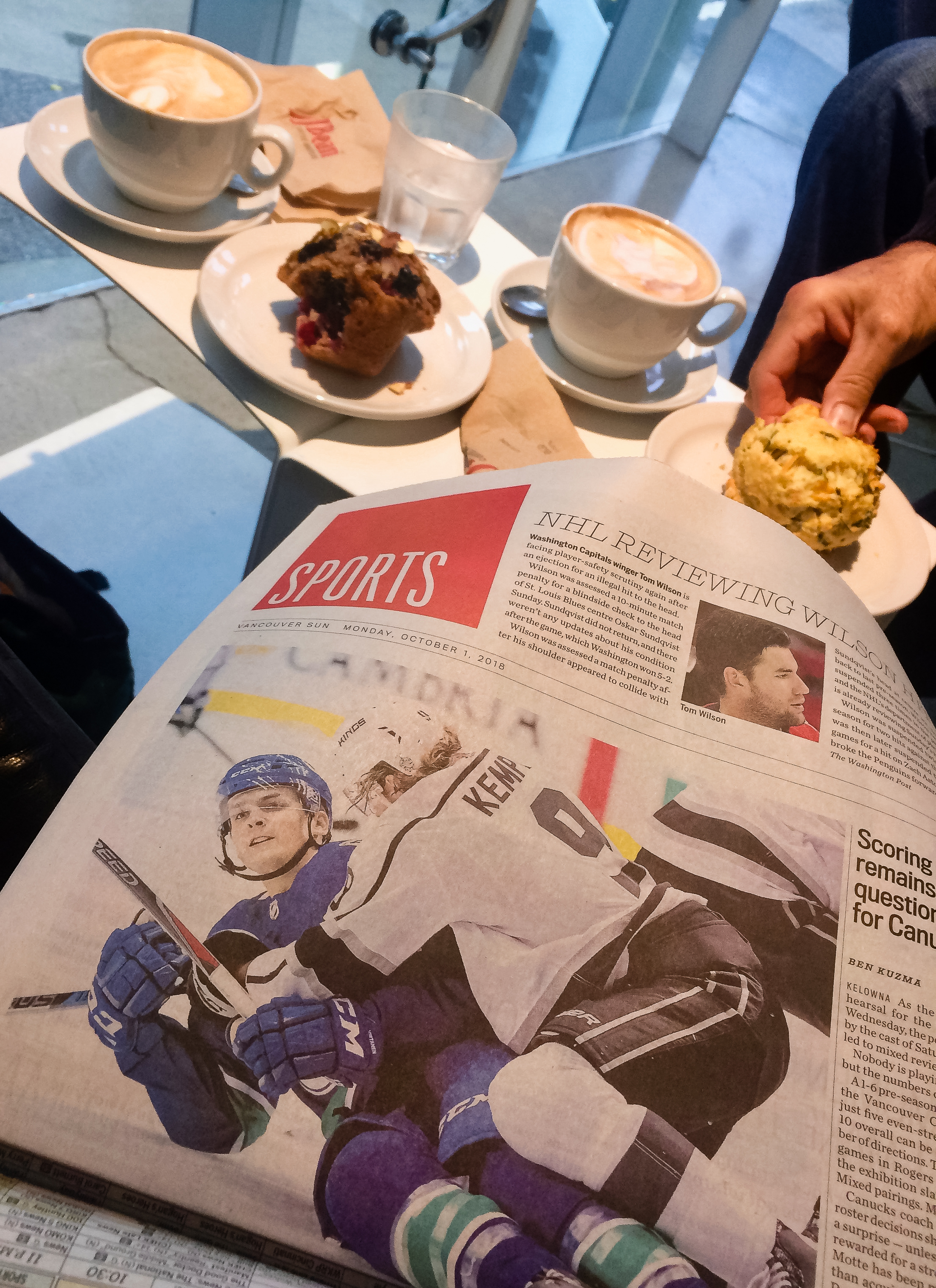 You know you are having breakfast in Canada when Hockey rules morning news.