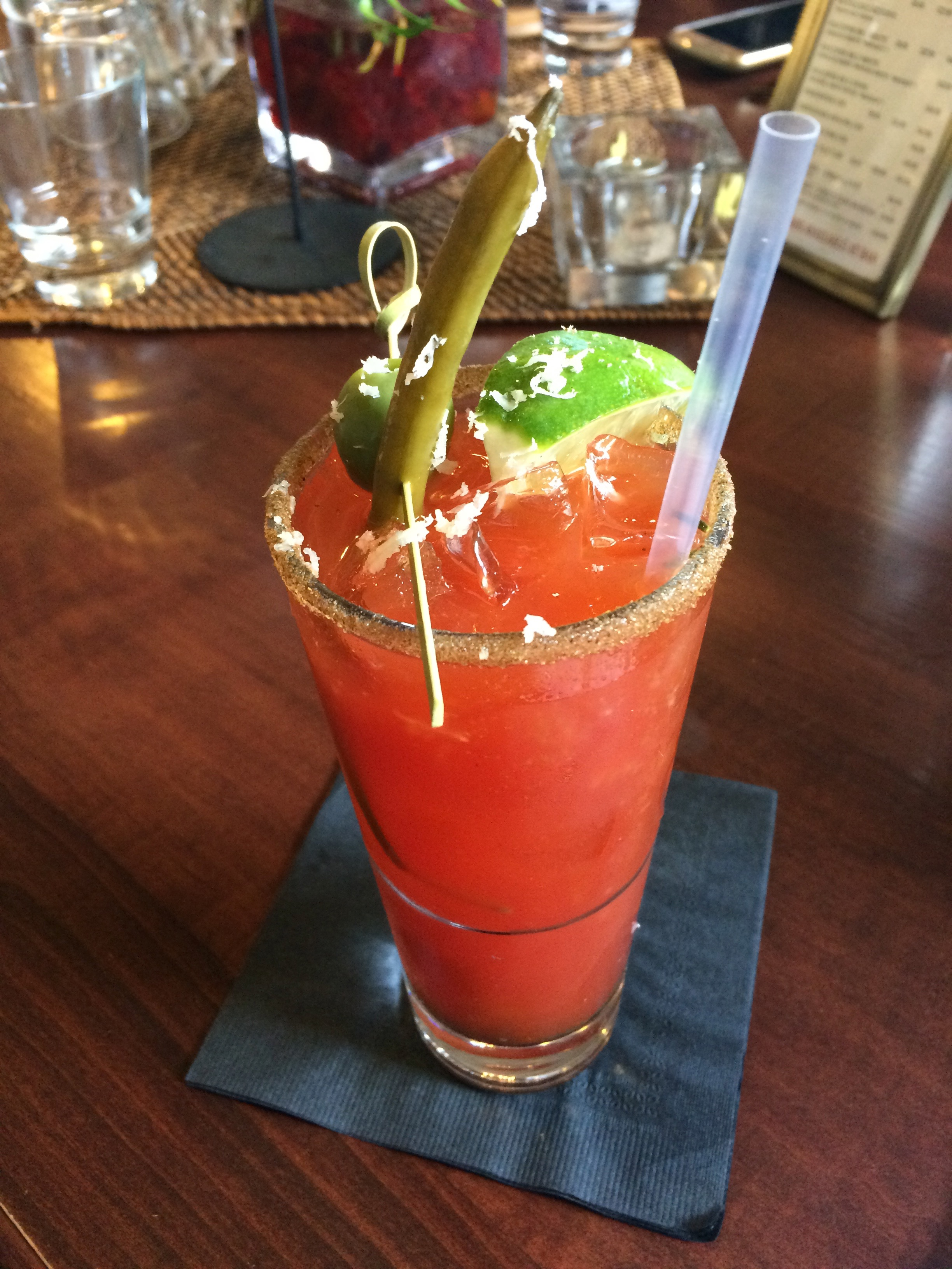 """I would like a Cesar, please,"" a Canadian Bloody Mary. ""Put in on my tab."" at the  Liberty Distillery"