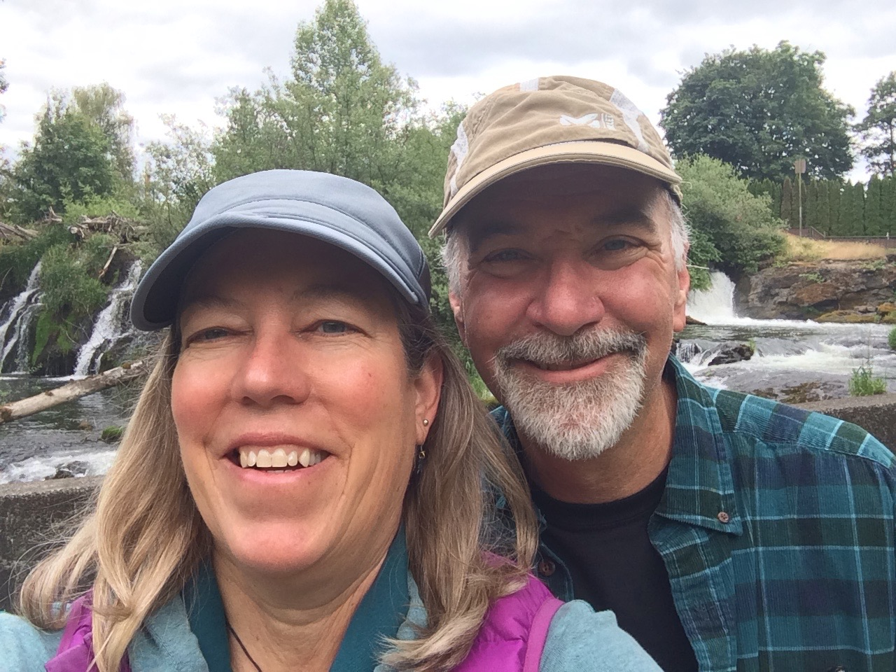 New to Olympia, my husband Keith and I take a selfie at Tumwater Falls.