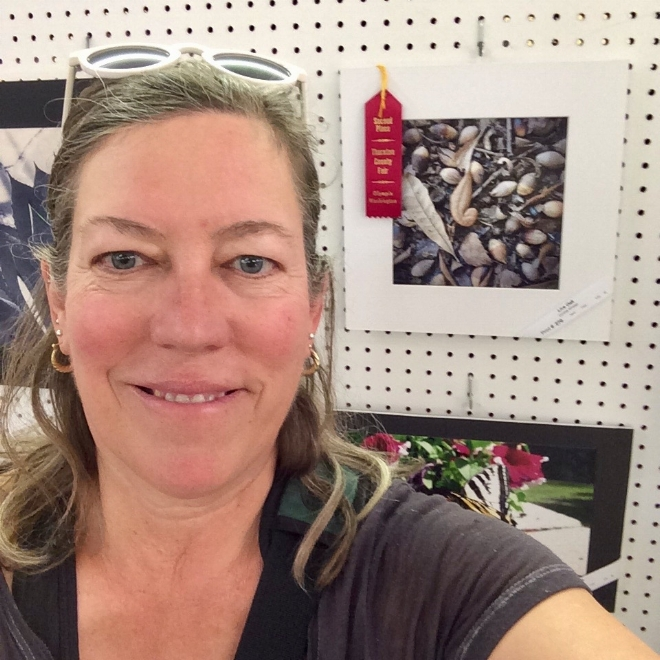 Selfie with one of my two, honorable mention awards at the Thurston County Fair.
