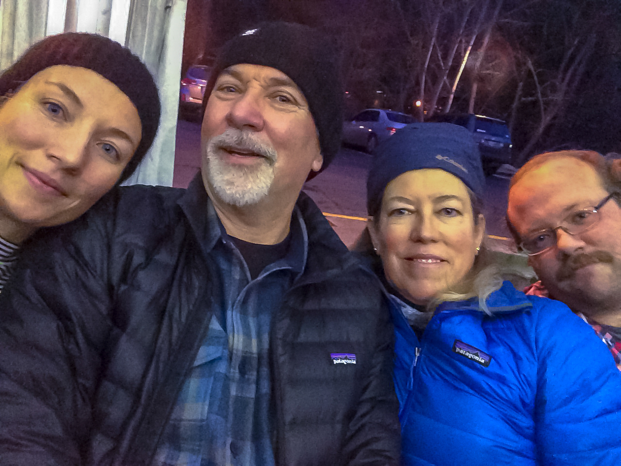 Family selfie while ice skating in Lithia Park.