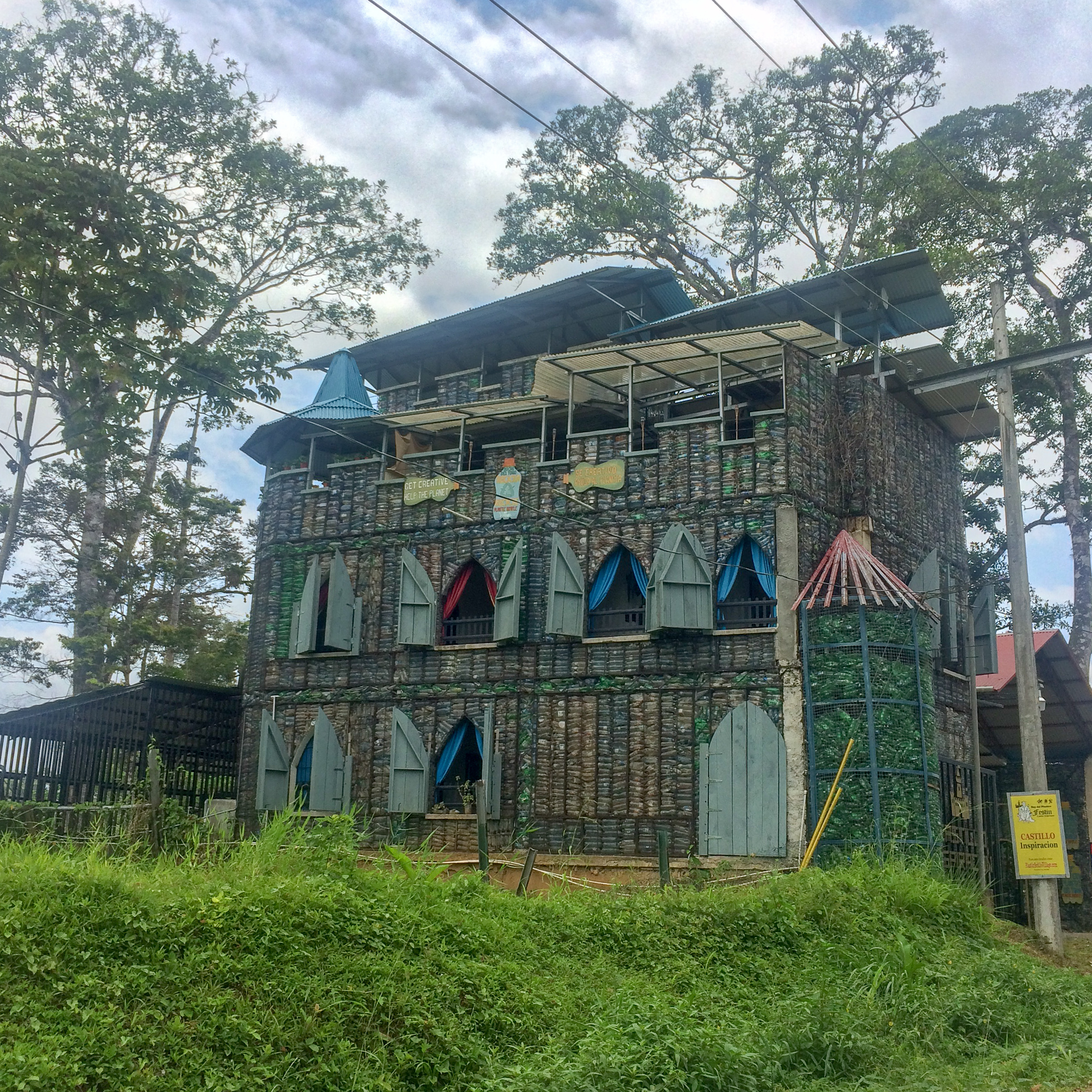 "One of the few tourist attractions on Bocas, ""Castilo Inspirrcion, Museo del Plastico."" A castle made of plastic bottles."