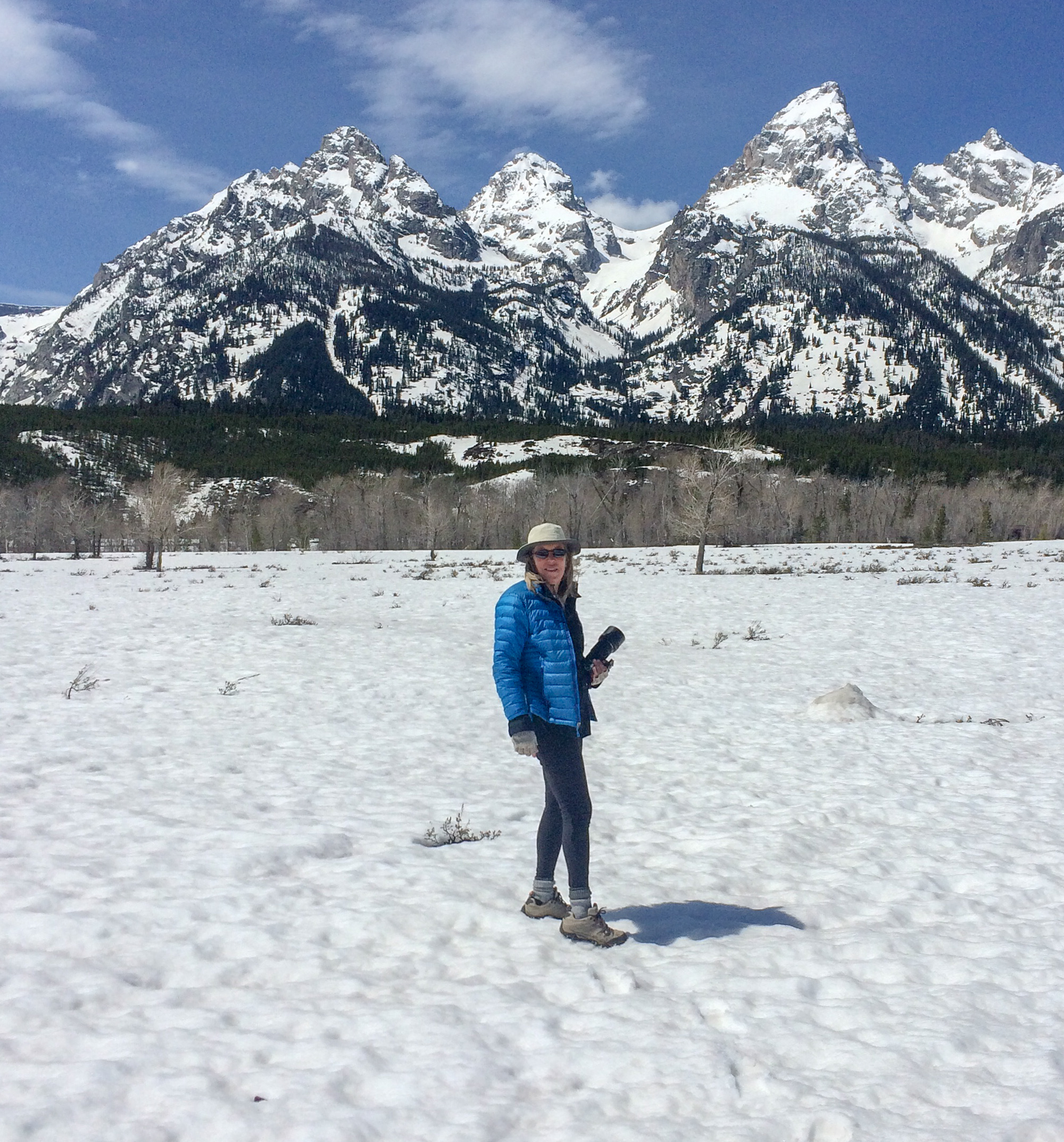 Walking the road at Grand Teton National Park.
