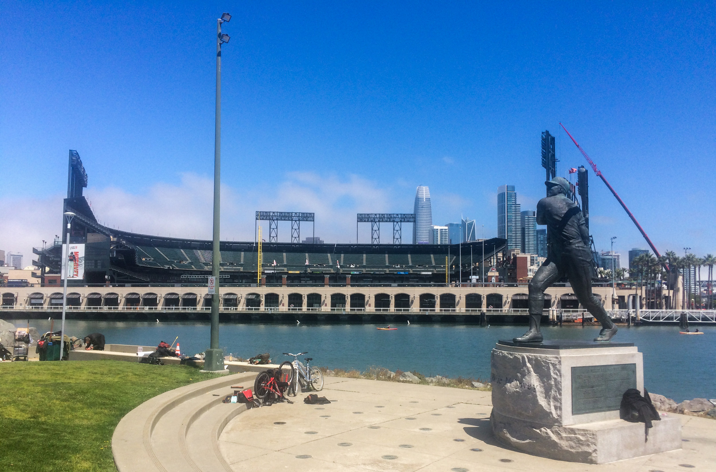 Hiking along McCovey Cove on the back side of the Oracle Park. Go Giants!