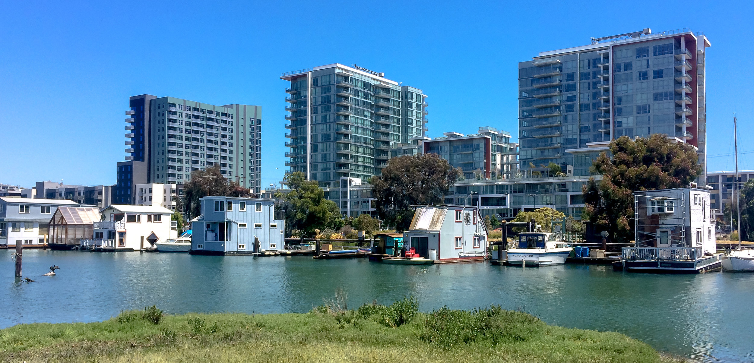 There are still a few houseboats in San Francisco, adjacent to new apartment buildings.