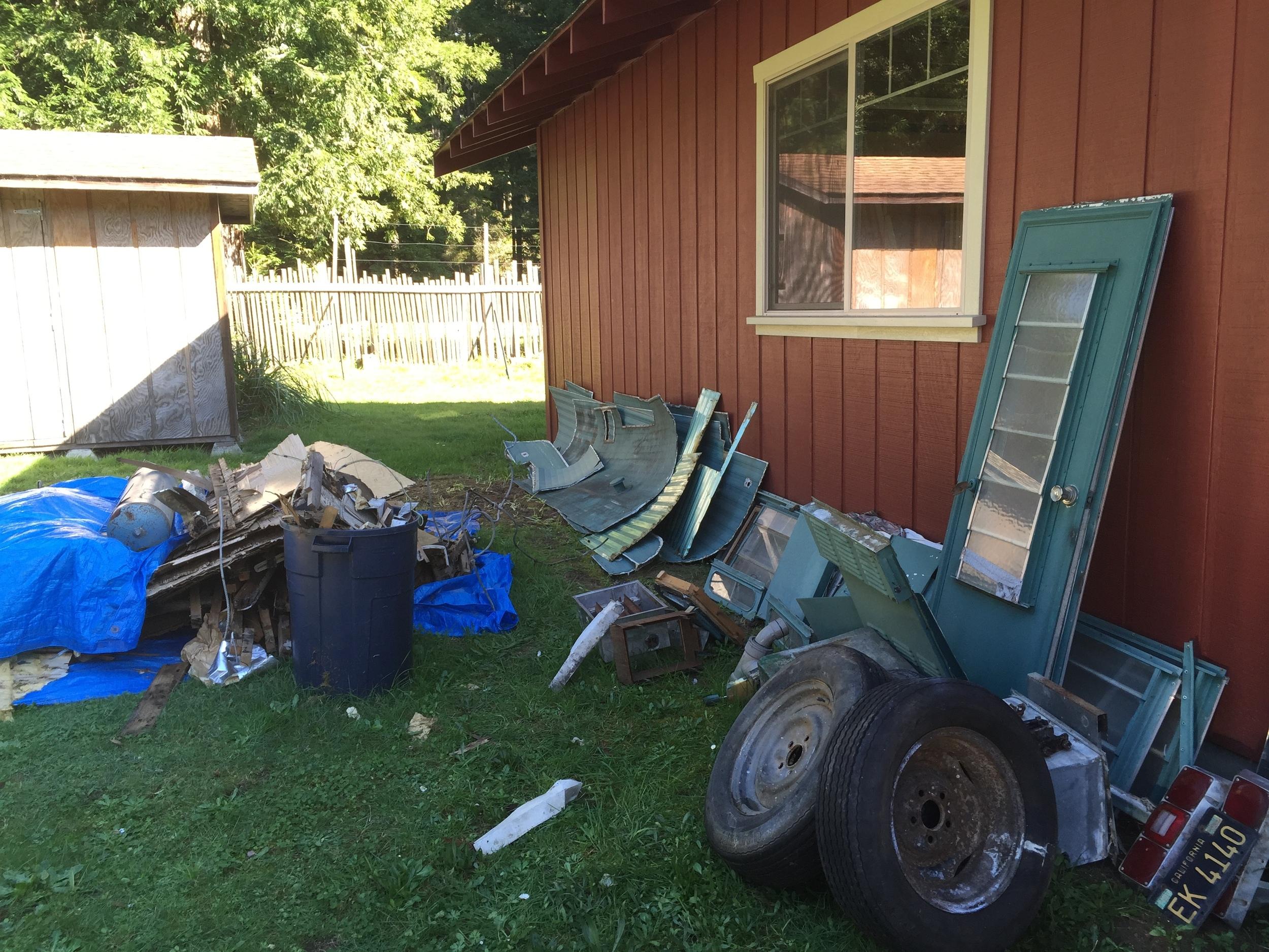 The scrap pile against Steve's shop