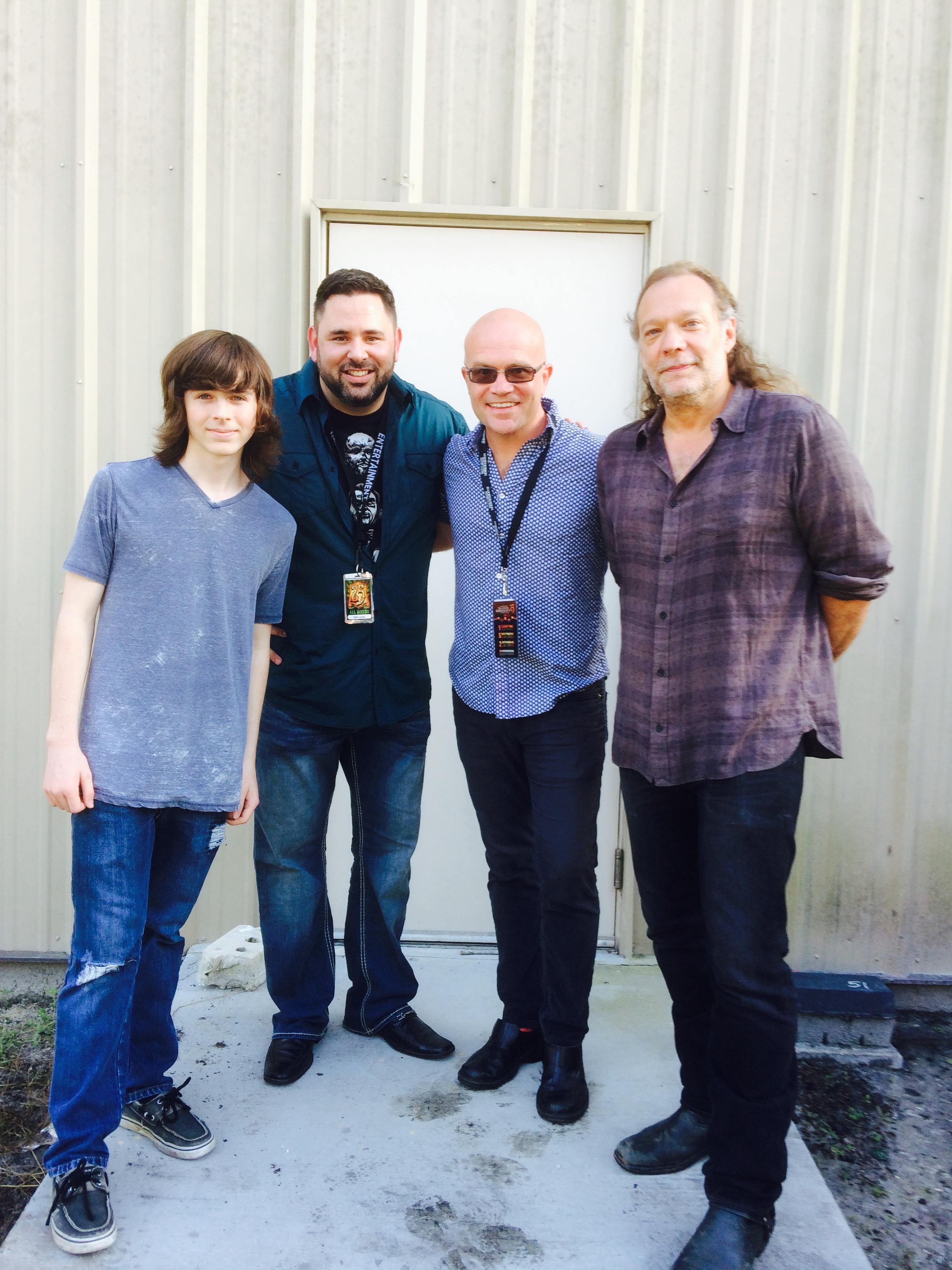 Left to right: Chandler Riggs, Mike Aiello, Jon Waterhouse and Greg Nicotero.