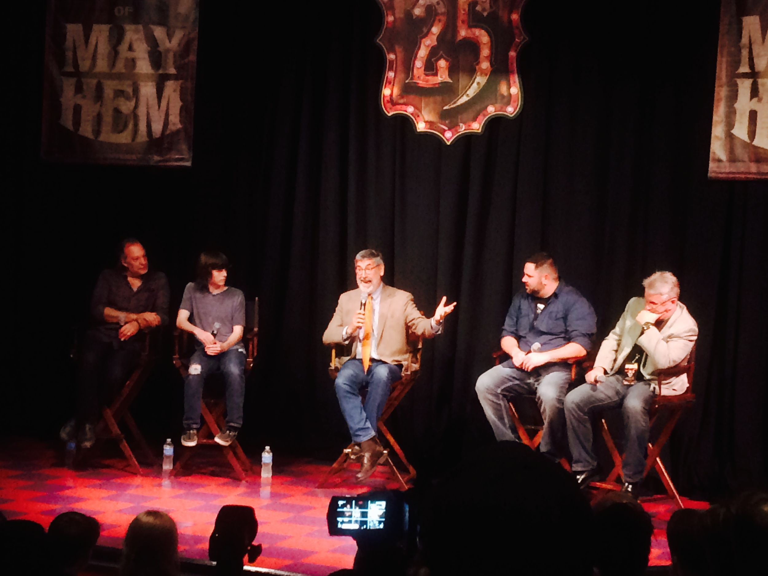 From left to right: Greg Nicotero, Chandler Riggs, John Landis, Mike Aiello and Jim Timon.