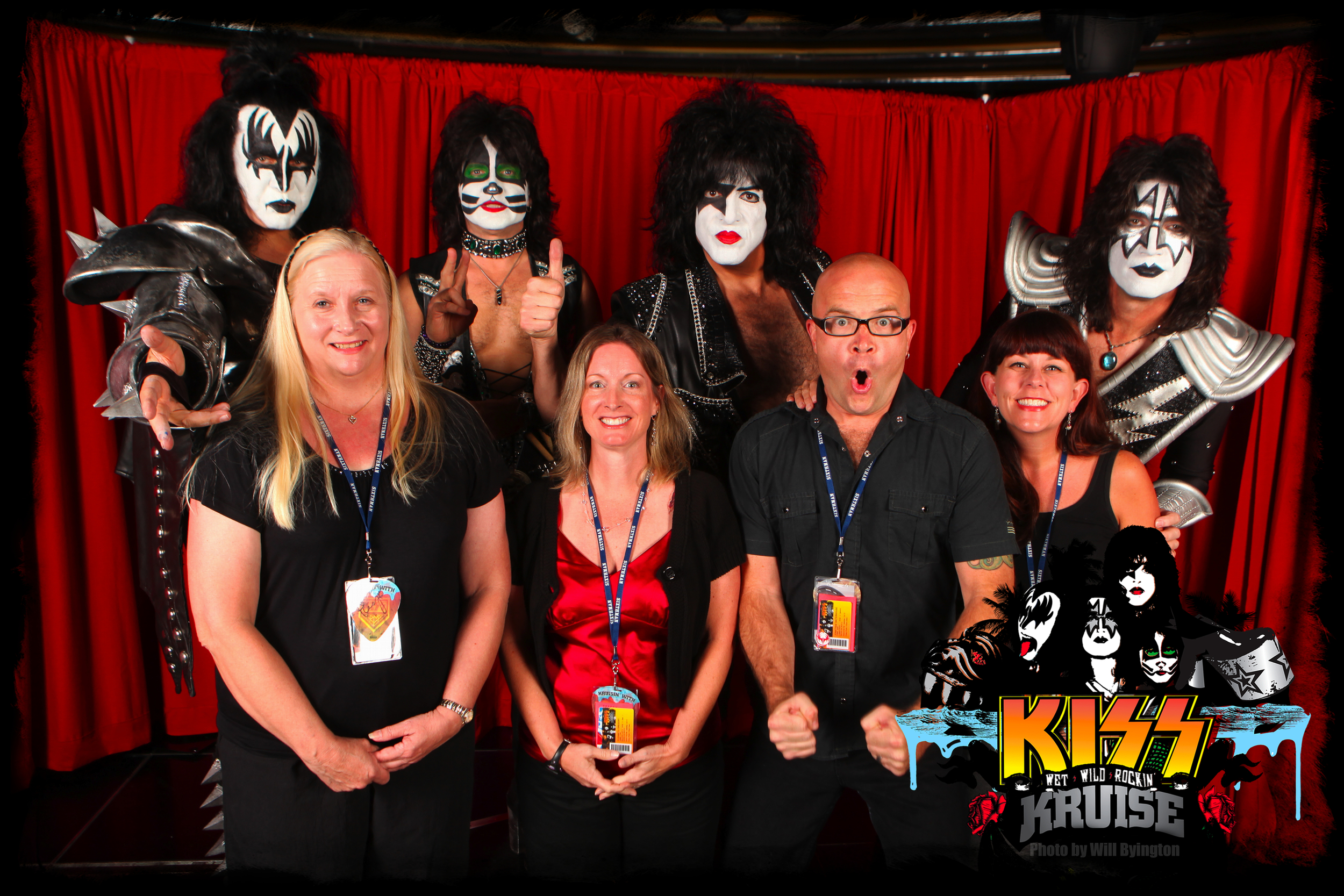 Andrea and myself (far right) posing with Kiss. I'm entirely too excited.