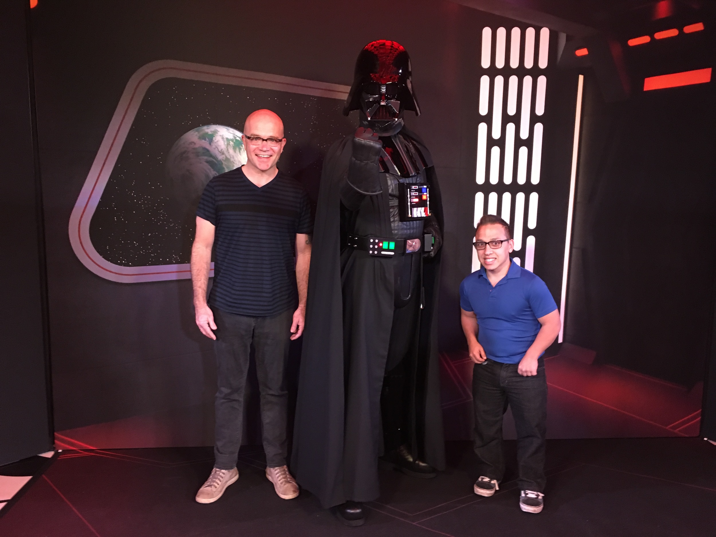 Jon and his son Max get grilled by Darth Vader.