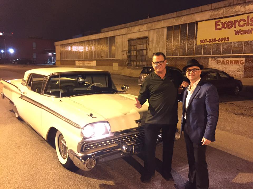 Jerry Lawler (left) with Brad Birkedahl of Rockabilly Rides.