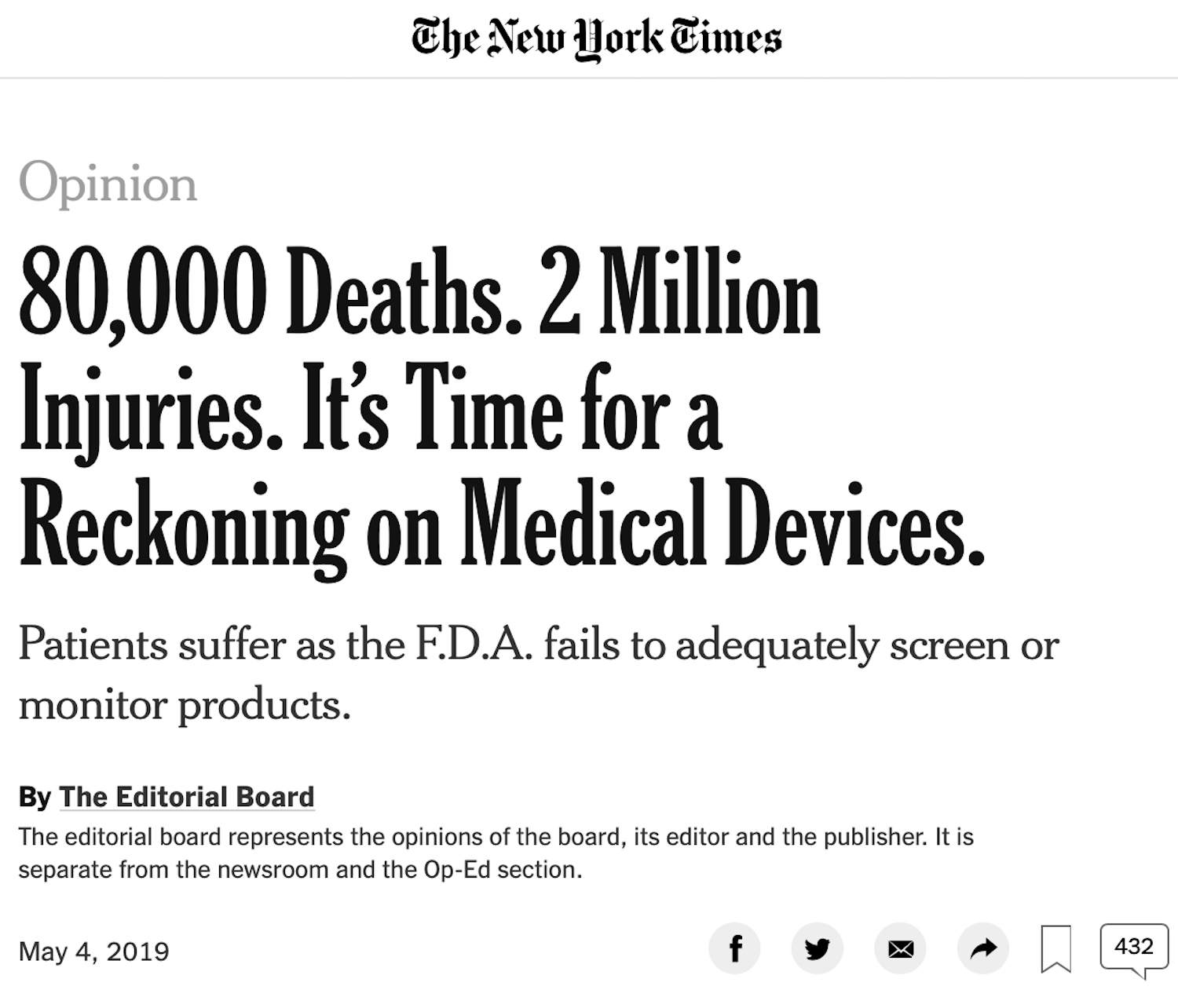 May 4, 2019 - New York Times
