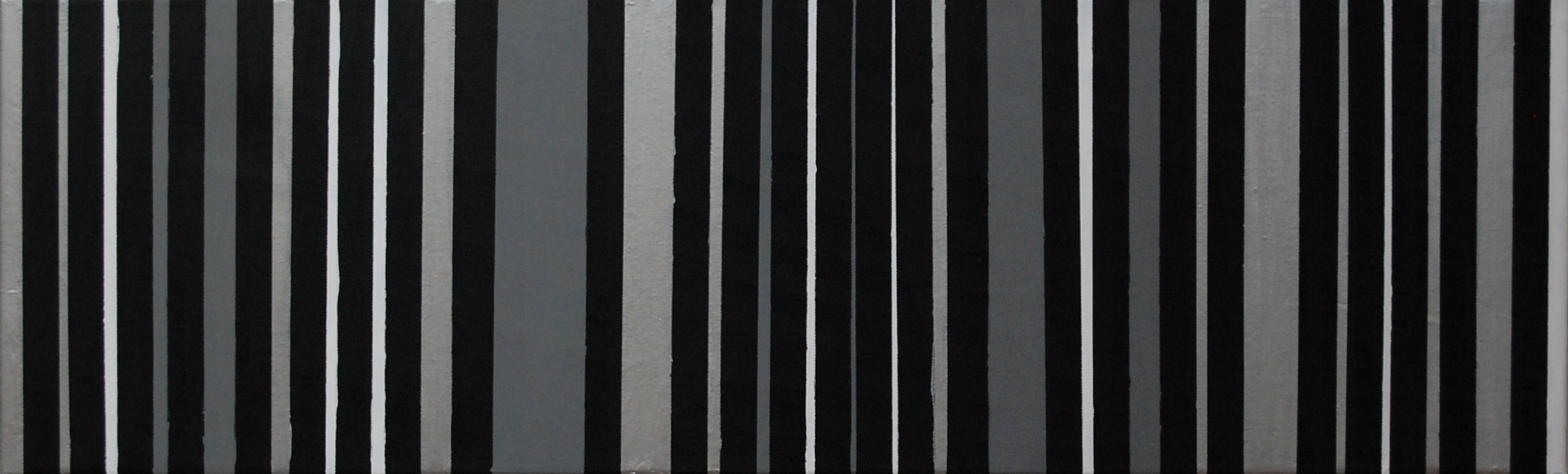 """Black, Silver, Gray, White"", Mixed Media on Canvas, 40""x12"", SOLD"