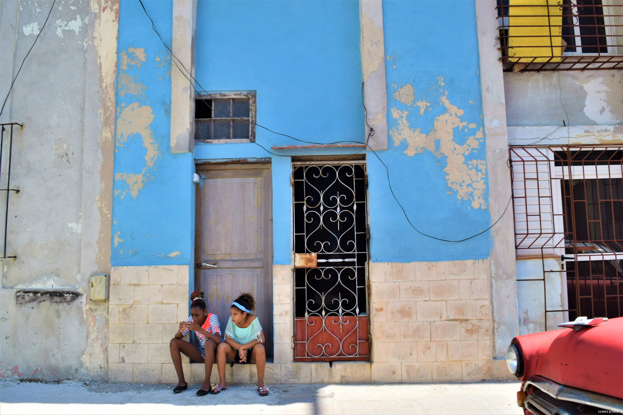 "Havana, Cuba. ""Portrait of Two Girls on a Doorstep"""