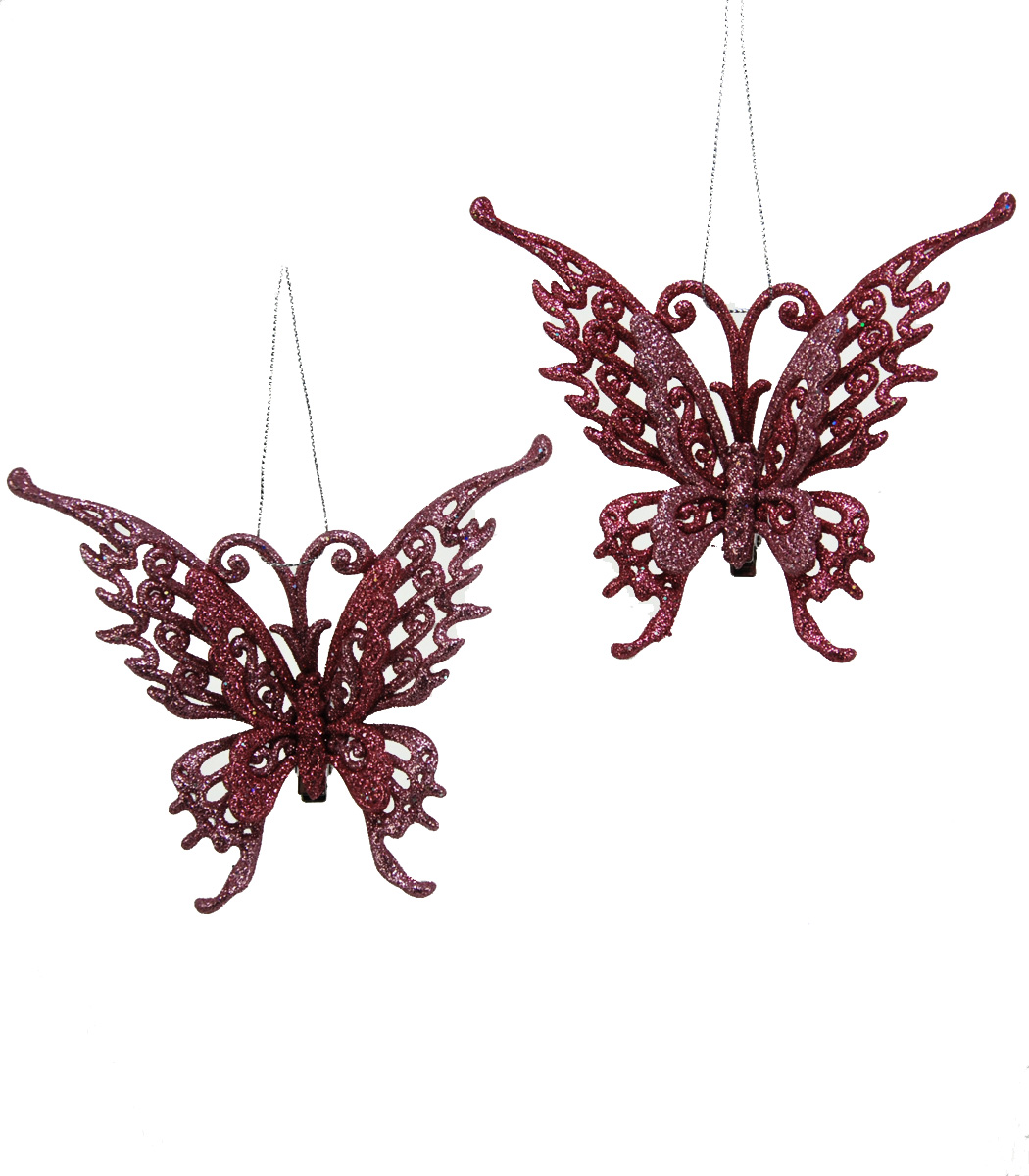 Glitter Butterfly Clip - Assortment Of 2  09-595922
