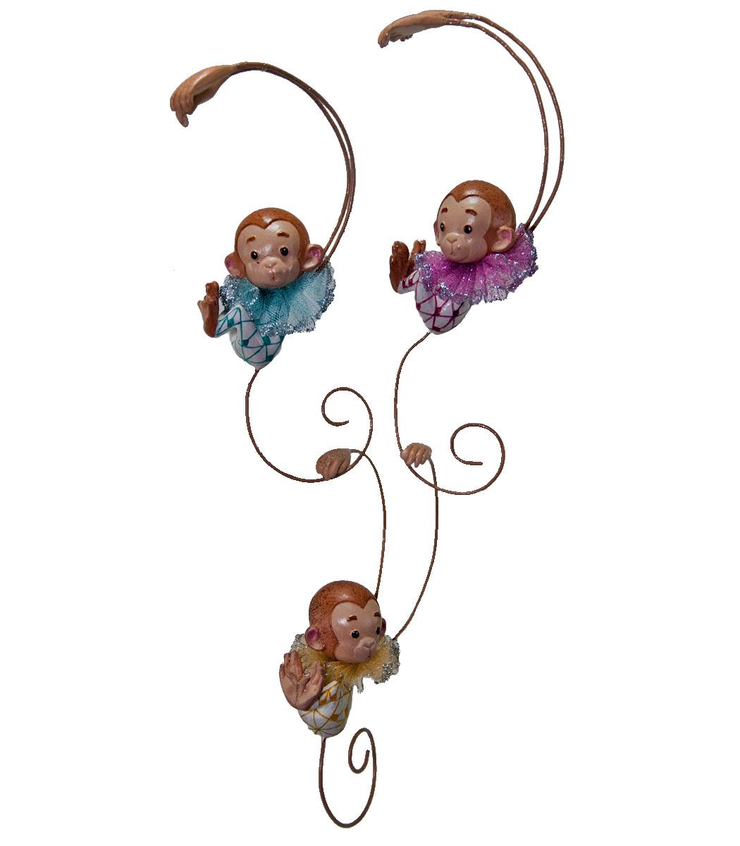 Monkey Link Ornament - Assortment Of 3  28-530551