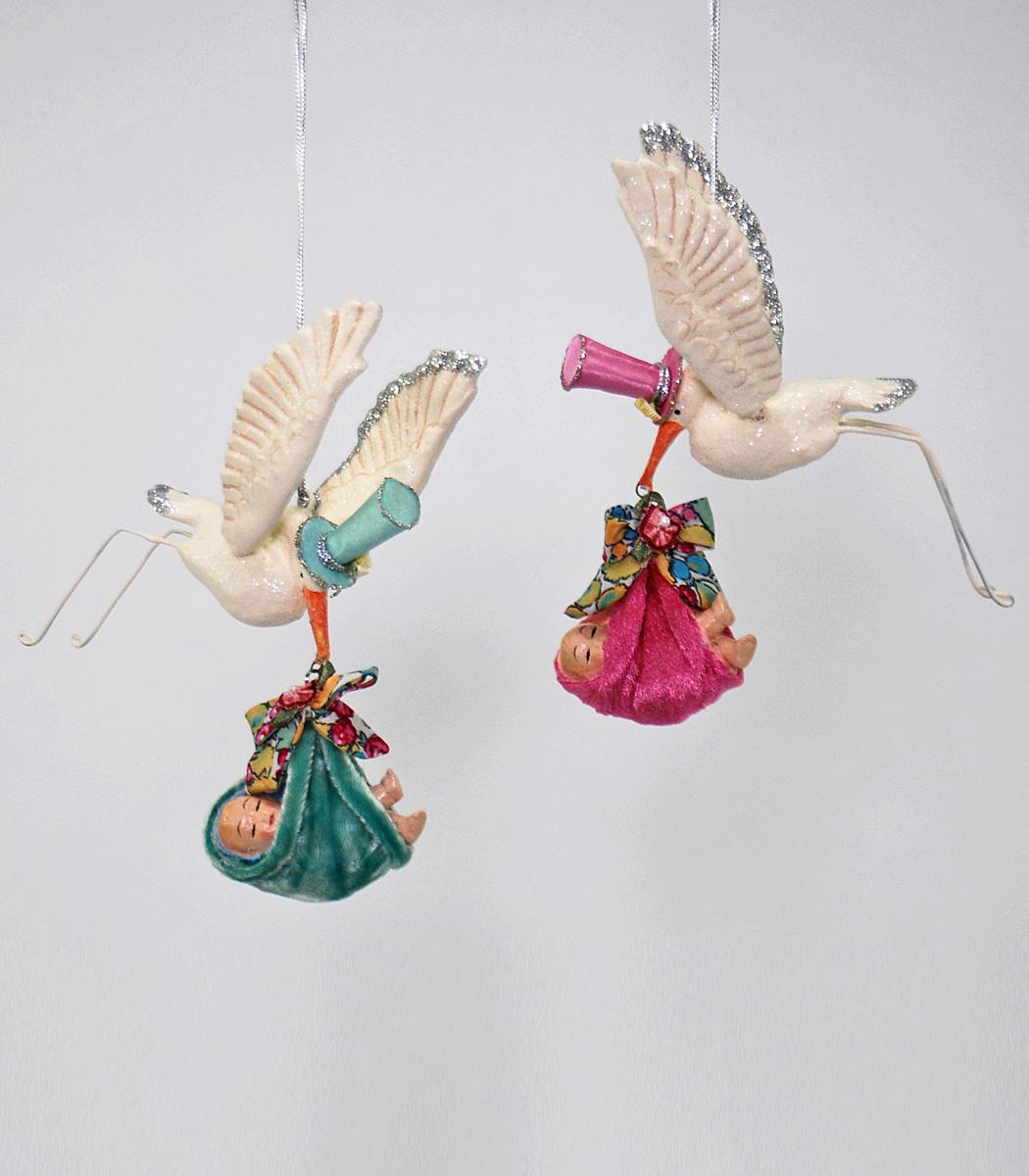 Flying Stork Ornament - Assortment Of 2  28-530552