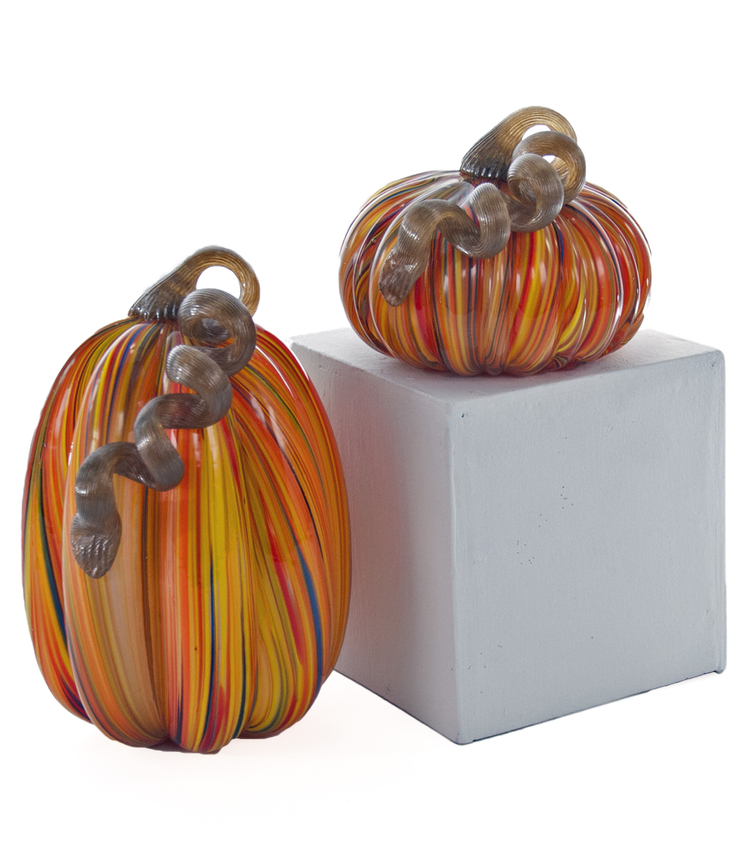Glass Swirl Pumpkins Set of 2