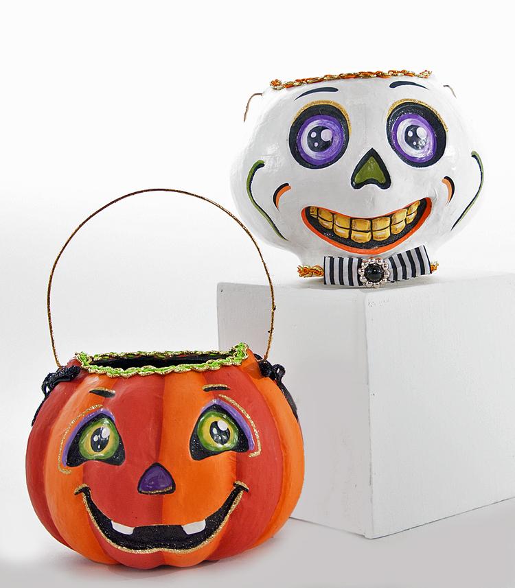 Pumpkin and Skull Basket