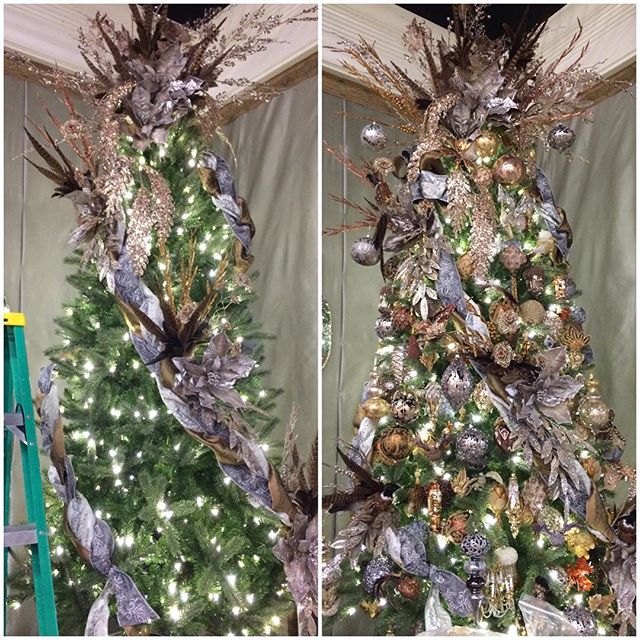 The makings of a Katherine's Collection tree at our headquarters showroom. First come ribbons and floral and then our beautiful ornaments finish the look.