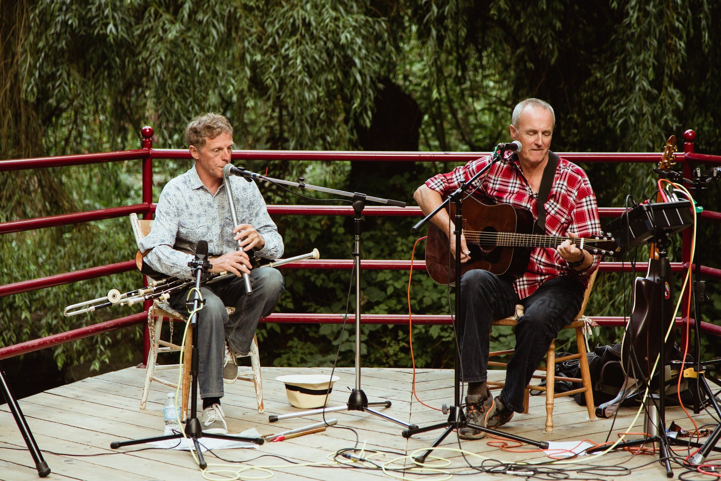DUBLIN2 (Martin Nolan and Terry Boyle) performing at Bowen Park, Nanaimo.  Photo by  Ciarán Boyle .