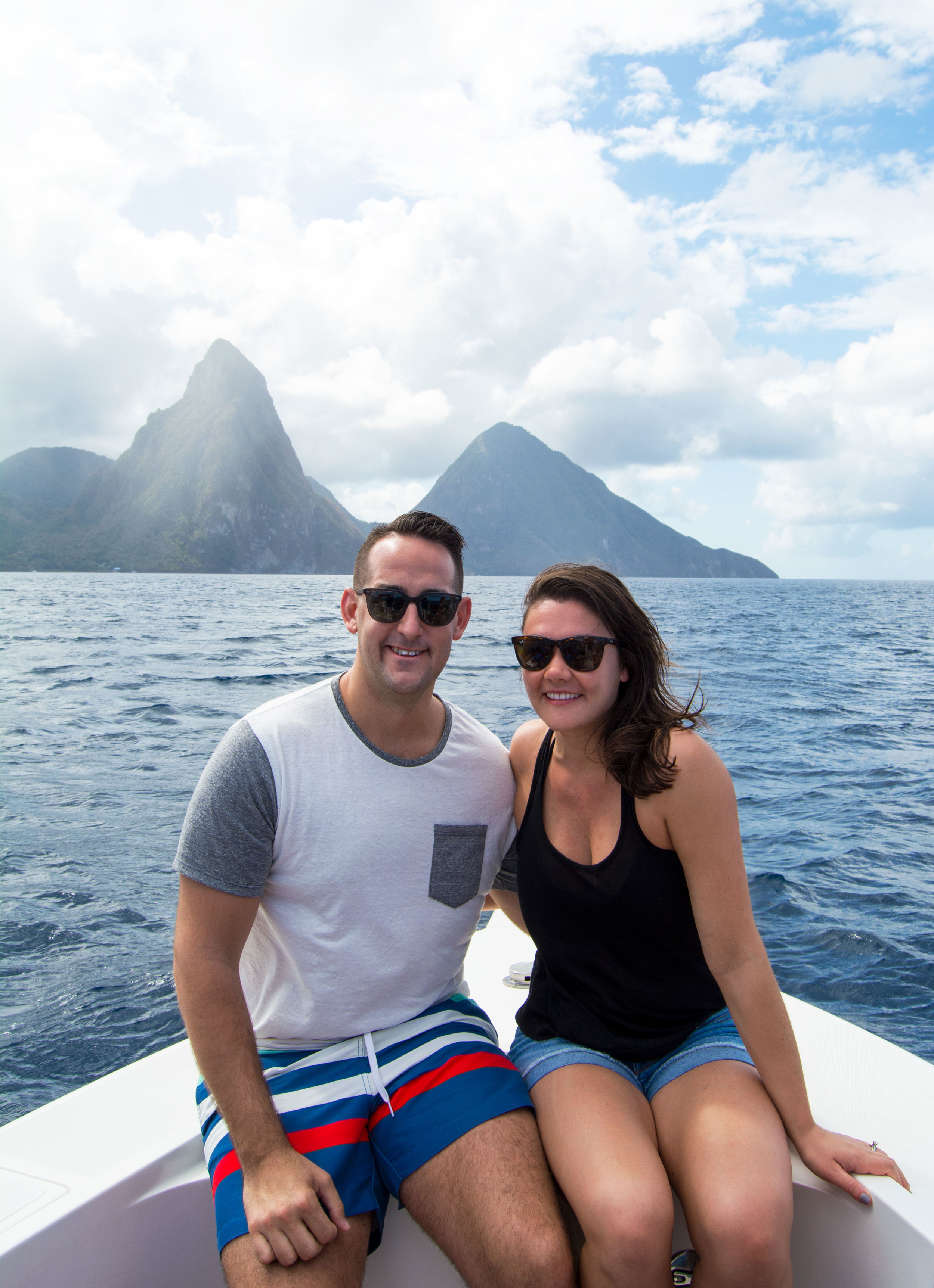 Behind us are the Pitons; The Gros Piton is 2,530 ft high, and the is 2,438 ft high.