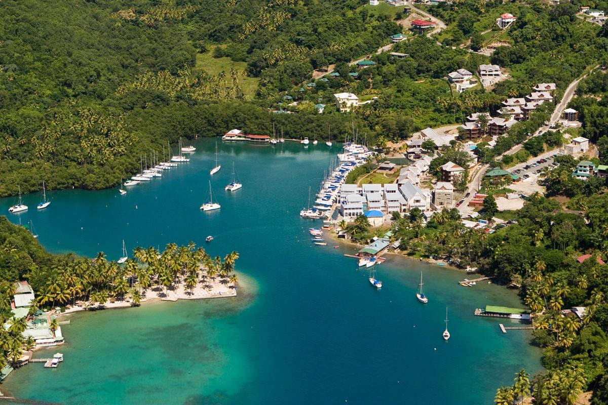 Marigot Bay arial view ( source )