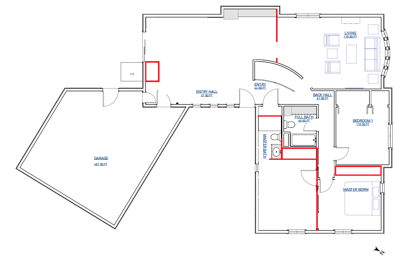 Original main level floorplan (red lines are walls we removed)