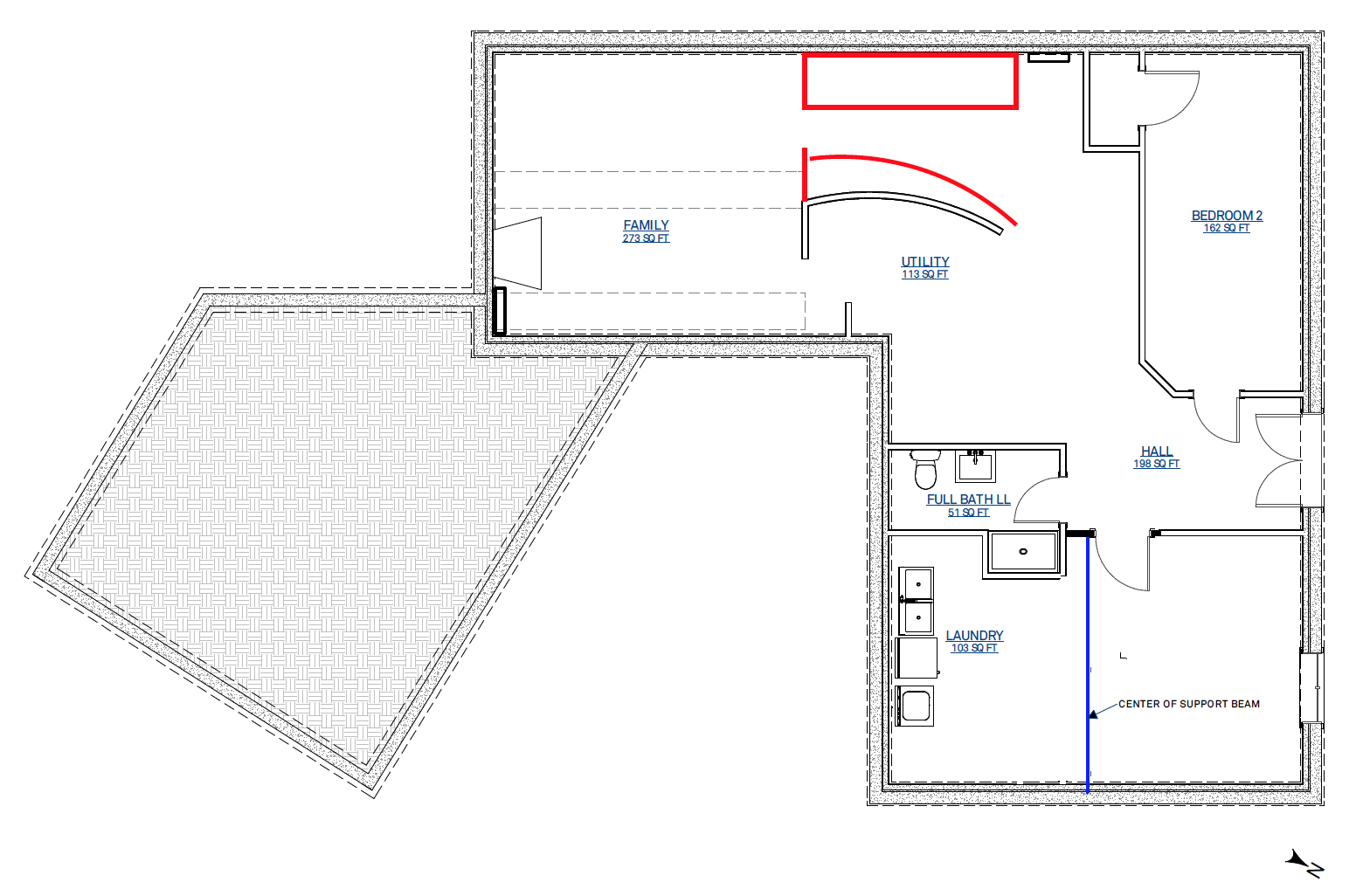 Lower level original floorplan (red indicates removed walls, blue is added walls)