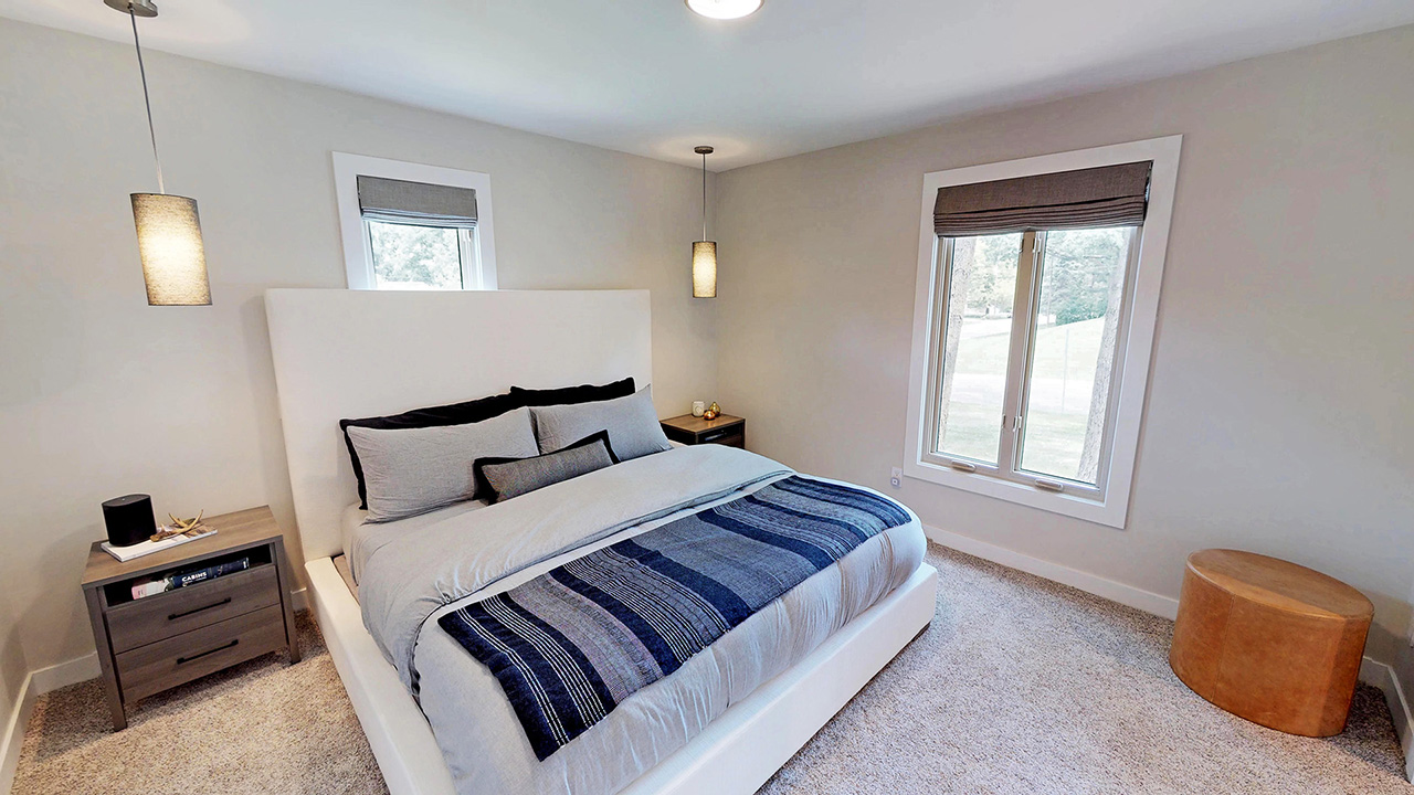 Master bedroom (two rooms + 1 tiny bathroom combined to make bedroom with walk-in closet and en suite bath)