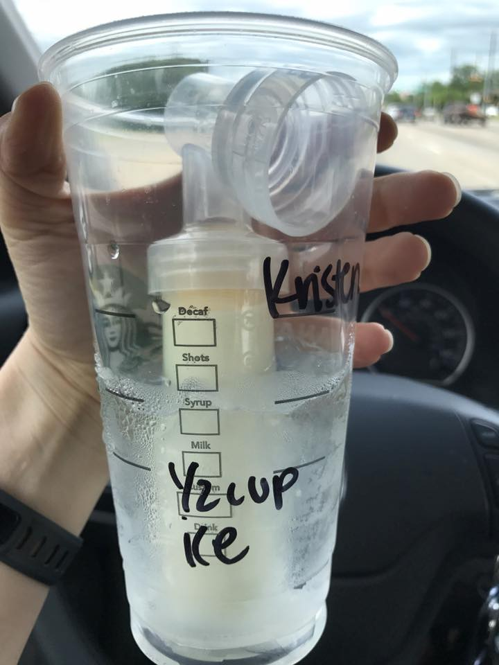 {Pumping on the go! a cup of ice water from Starbucks works as an ice chest, in a pinch.}