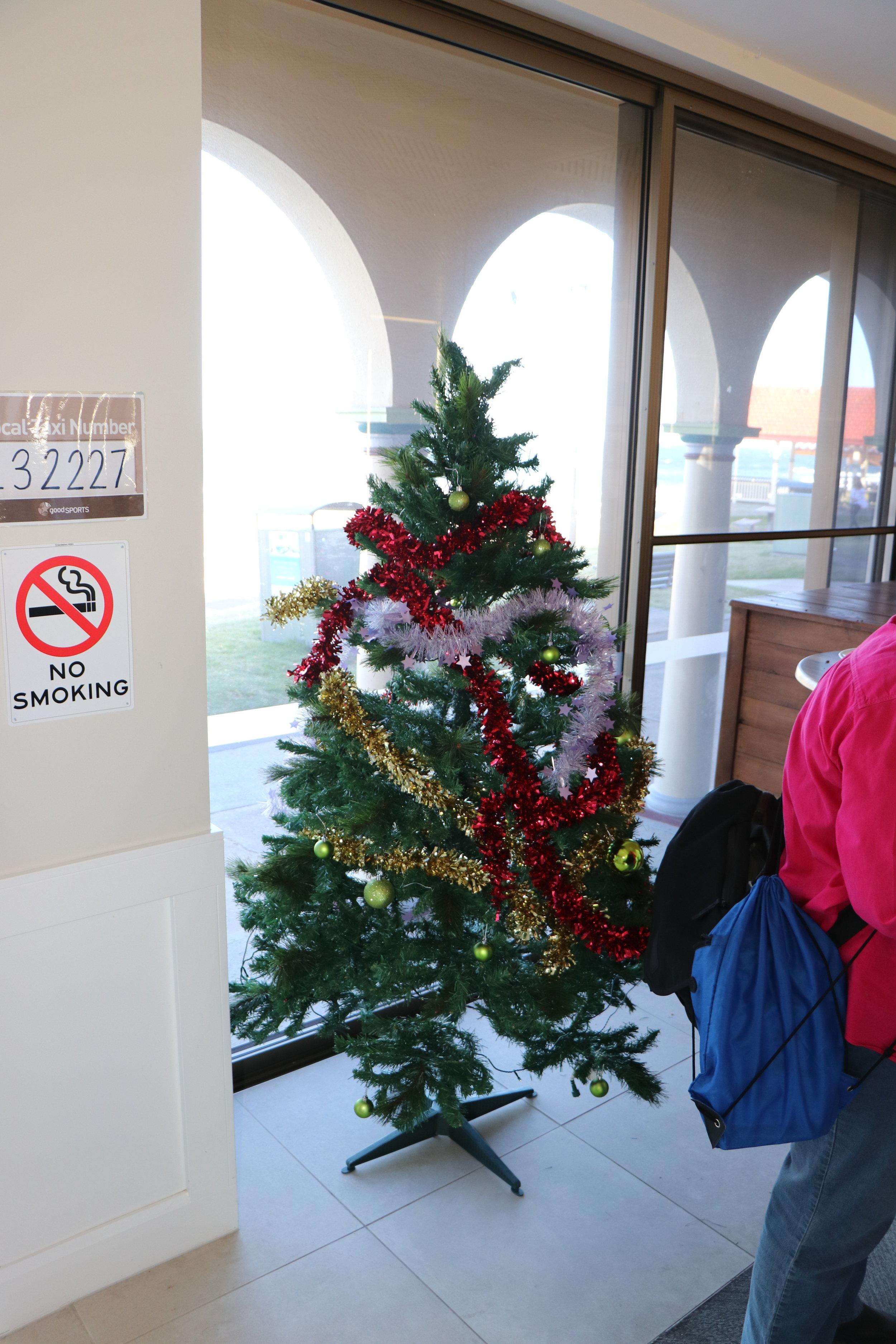 Photo of Christmas Tree in the corner.