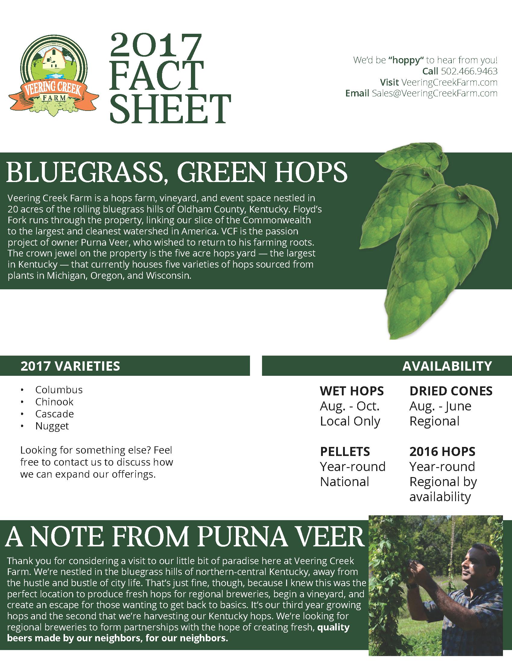 Veering Creek Farm Fact Sheet