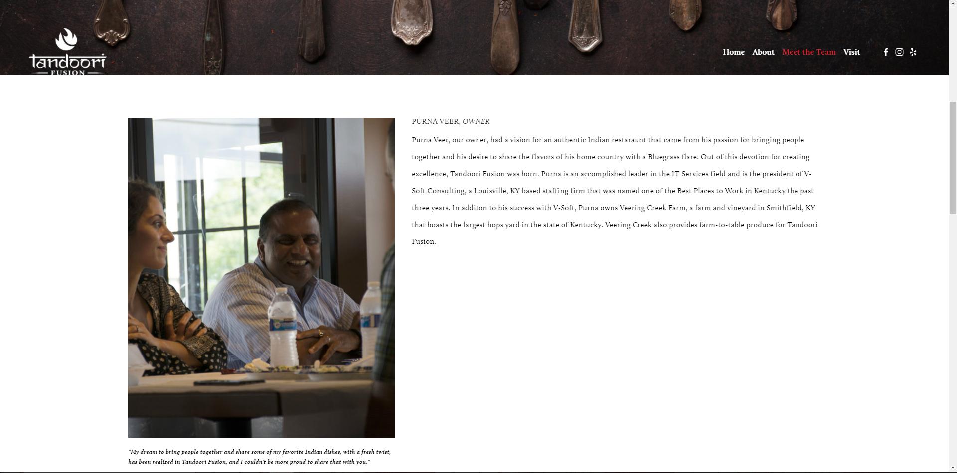 Website designed for Tandoori Fusion. Click  here  for the live version.