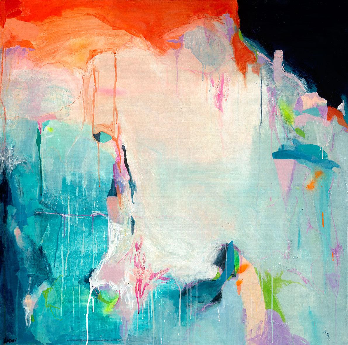 Annie Everingham. Light That Follows The Storm 101cmx101cm Mixed Media On Canvas