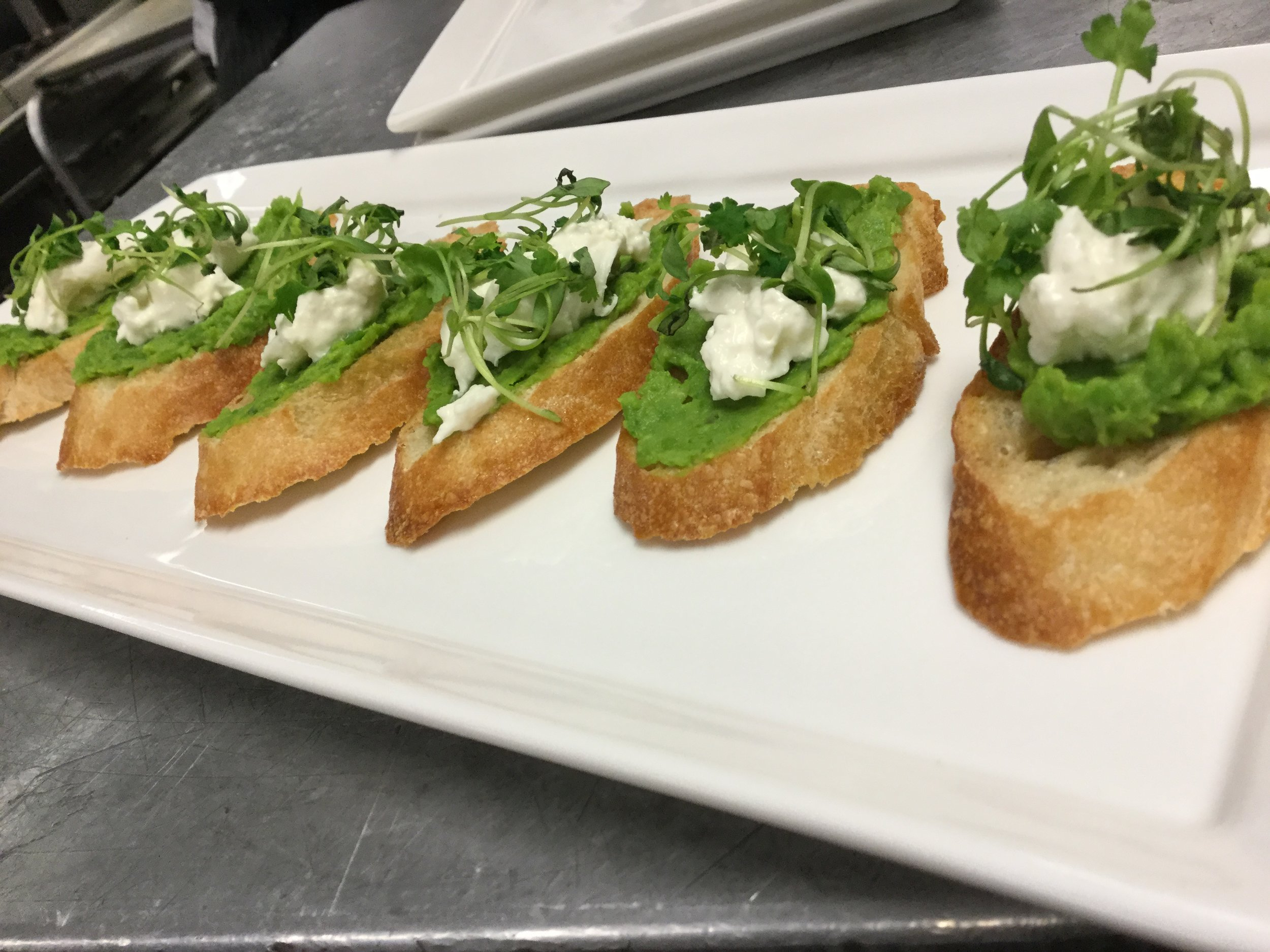 English Pea Buratta Cheese Micro Herb Crostini.JPG