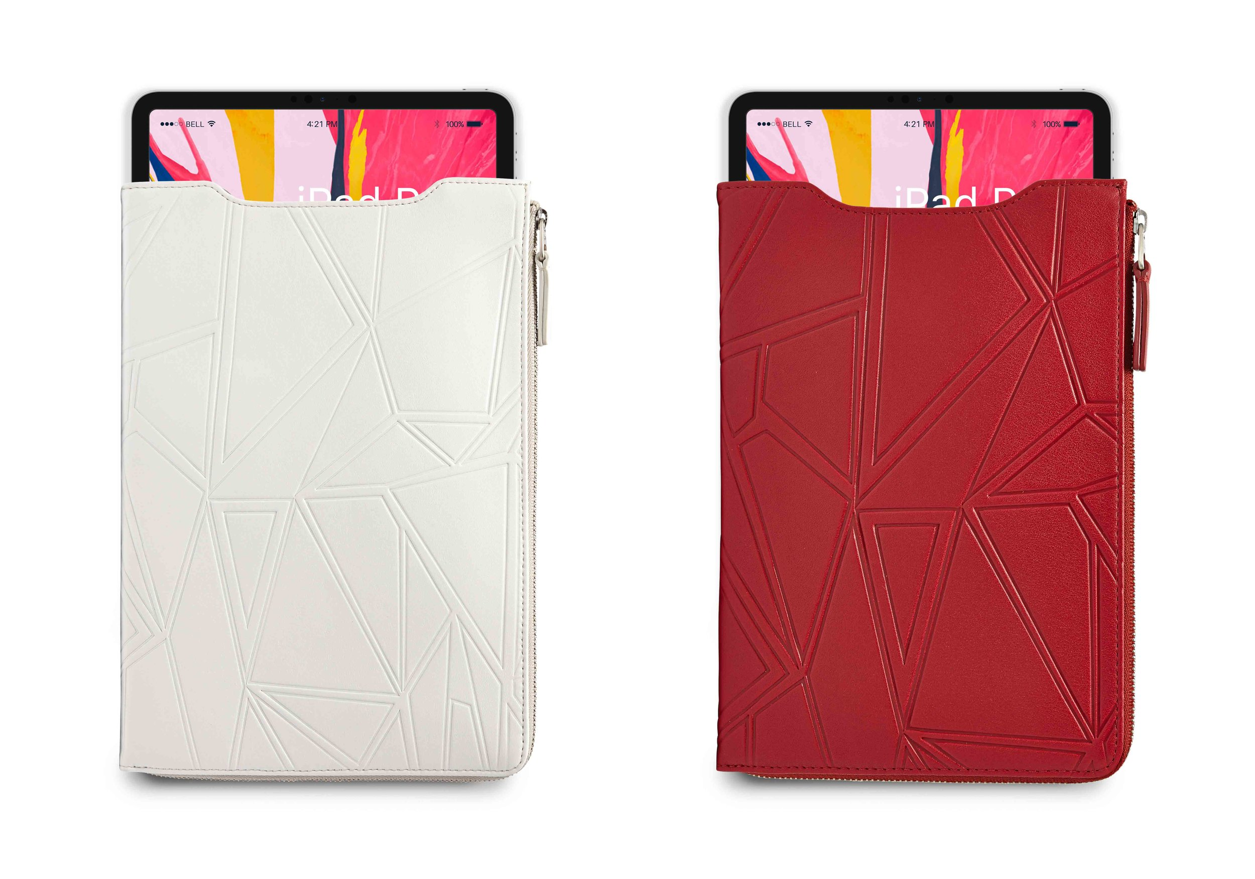 Product:    Leather iPad case with additional zip pocket storage.